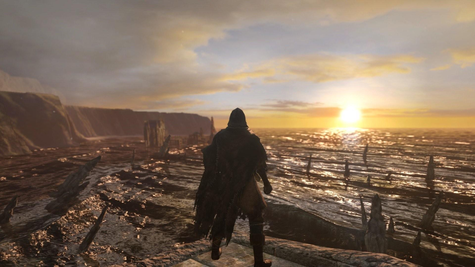 Dark Souls 2 Majula Sunset Mountains Sea Ruins Undead
