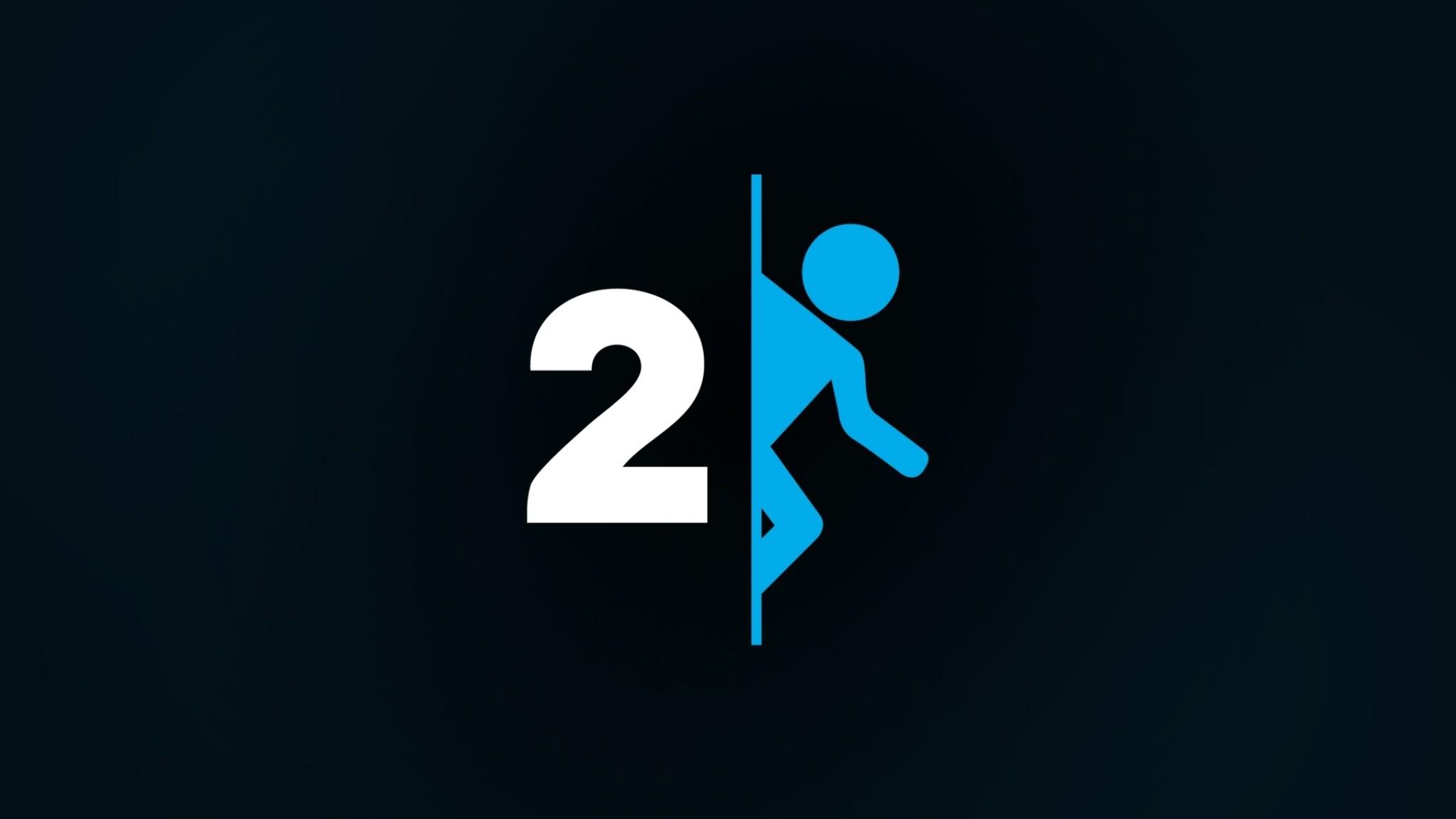 Preview wallpaper portal 2, logo, human, black 2048×1152