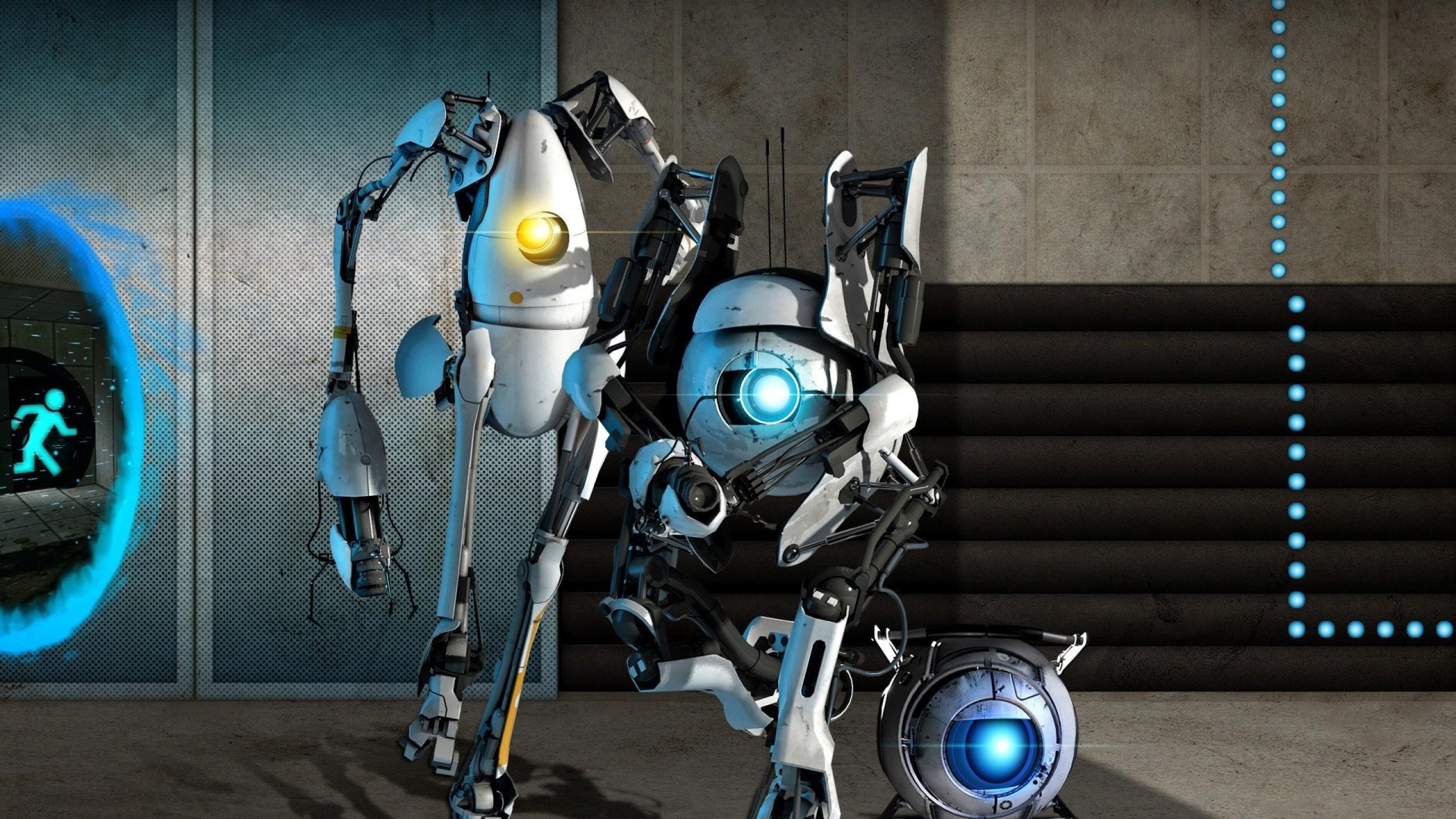 Wallpaper portal 2, robots, light, wall, door