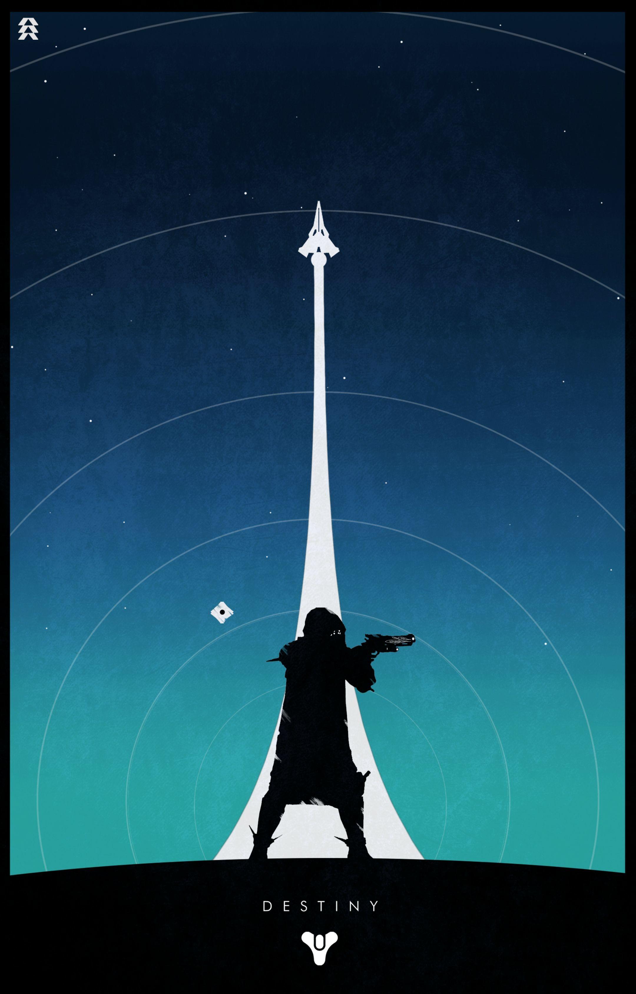 Hunter w/ Hawkmoon (Blue Background)