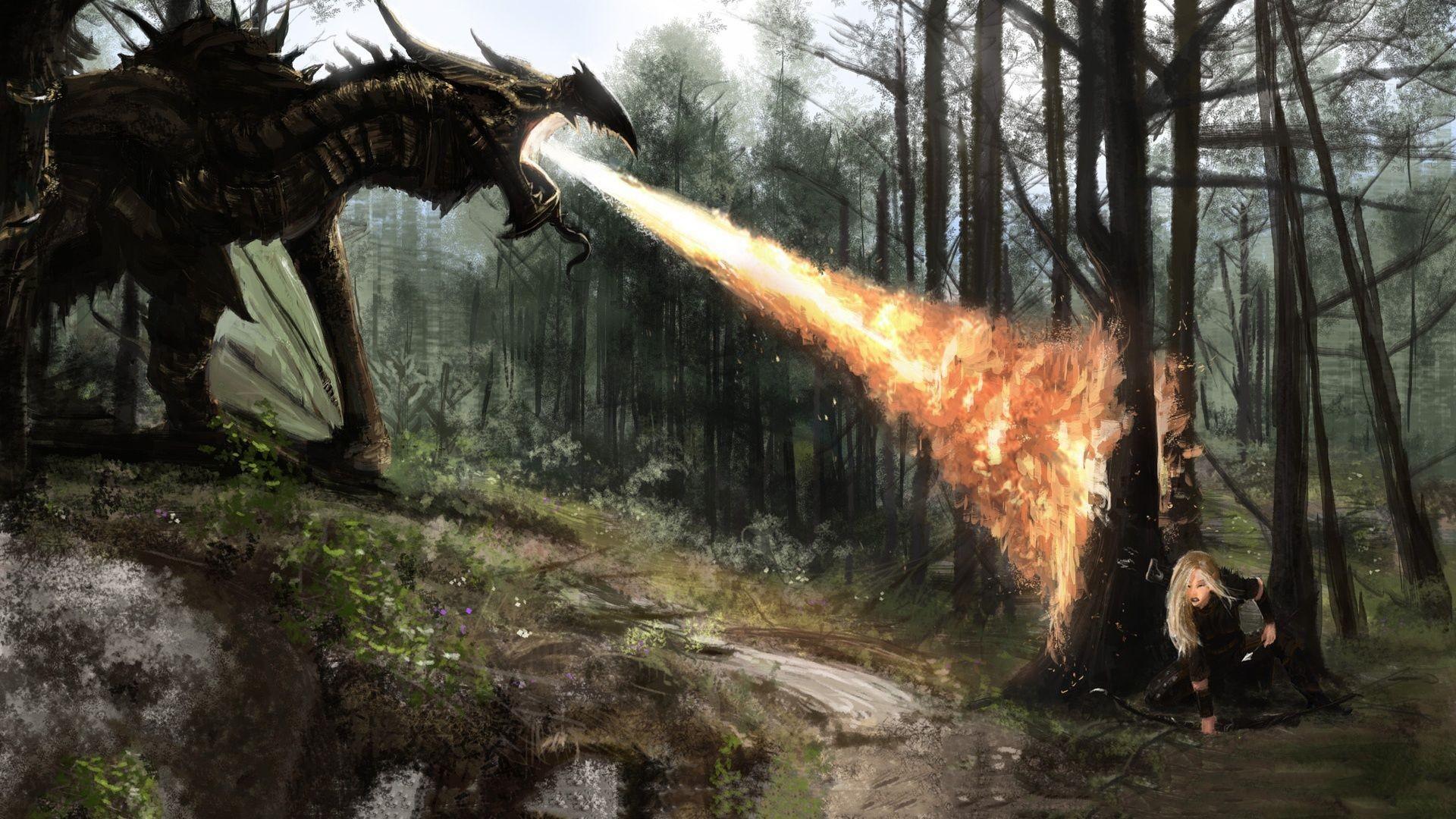 Skyrim Fire Dragon : Full HD desktop wallpaper : Wallinda