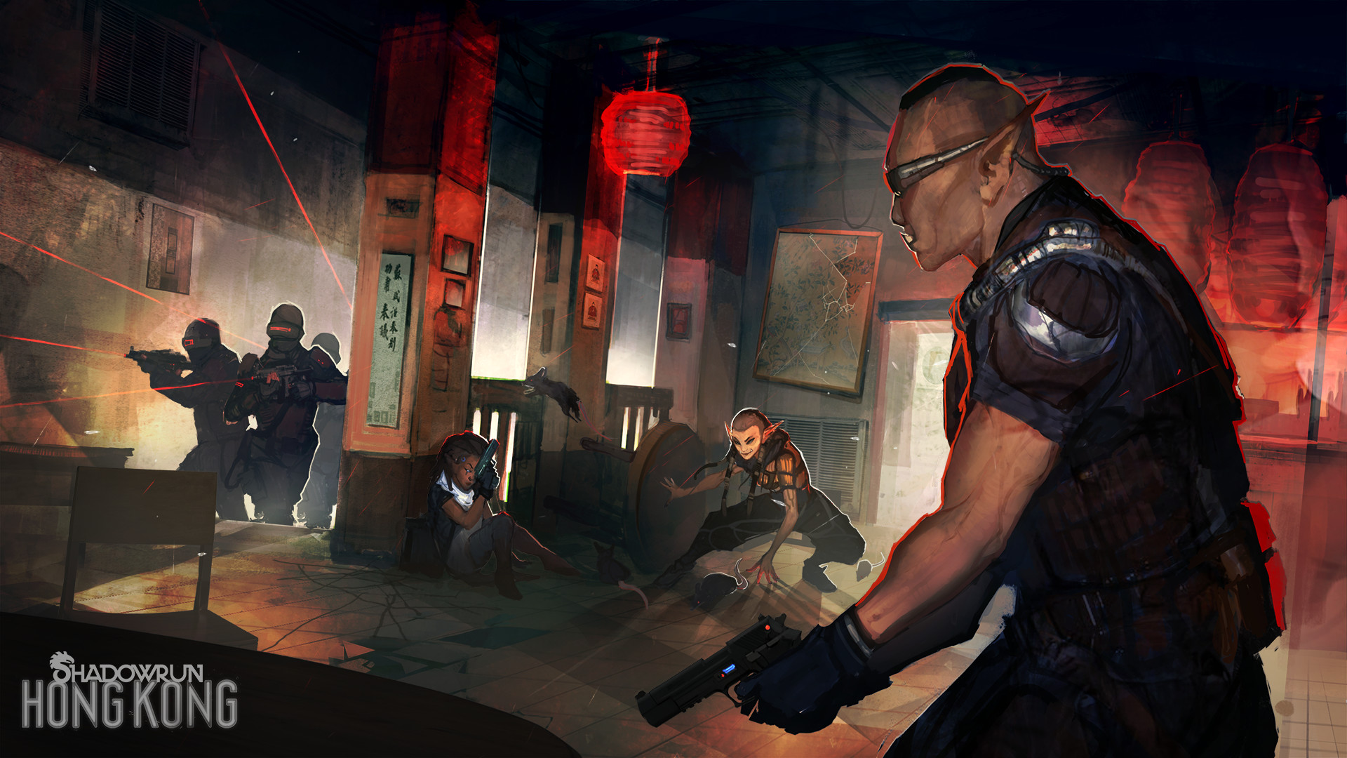 Concept art from the Shadowrun: Hong Kong video game by Harebrained Schemes