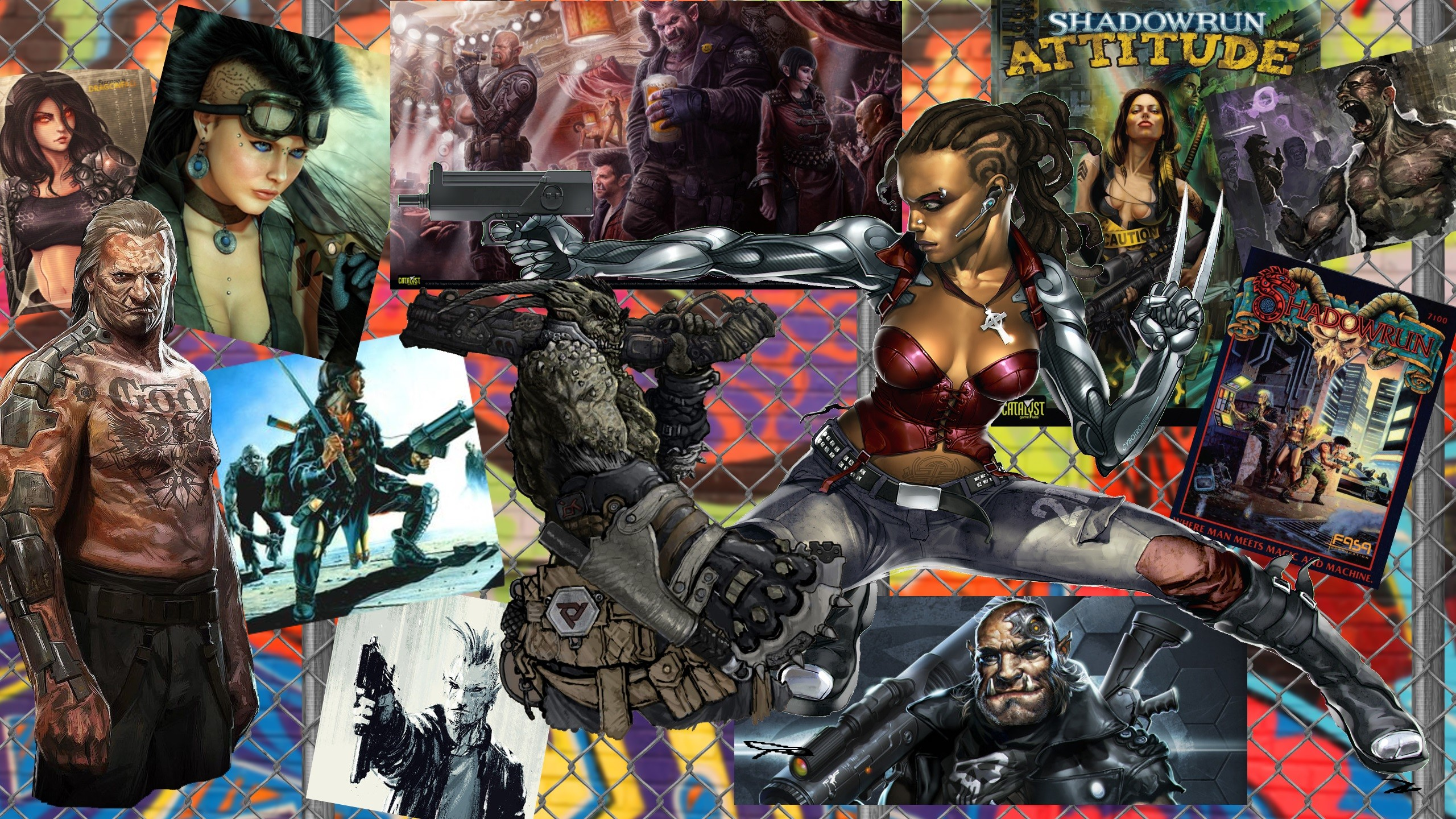 Sci Fi – Cyberpunk Shadowrun Woman Gun Troll Collage Orc Wallpaper