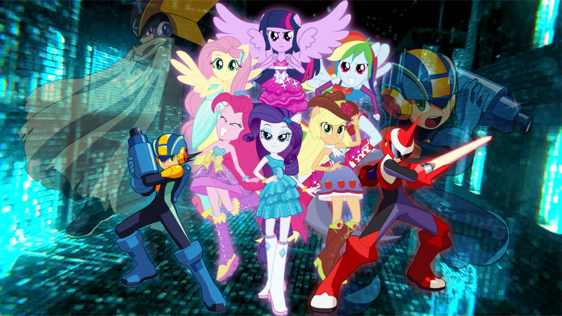 … Megaman Nt Warrior X MLP Equestria Girls by Infantry00