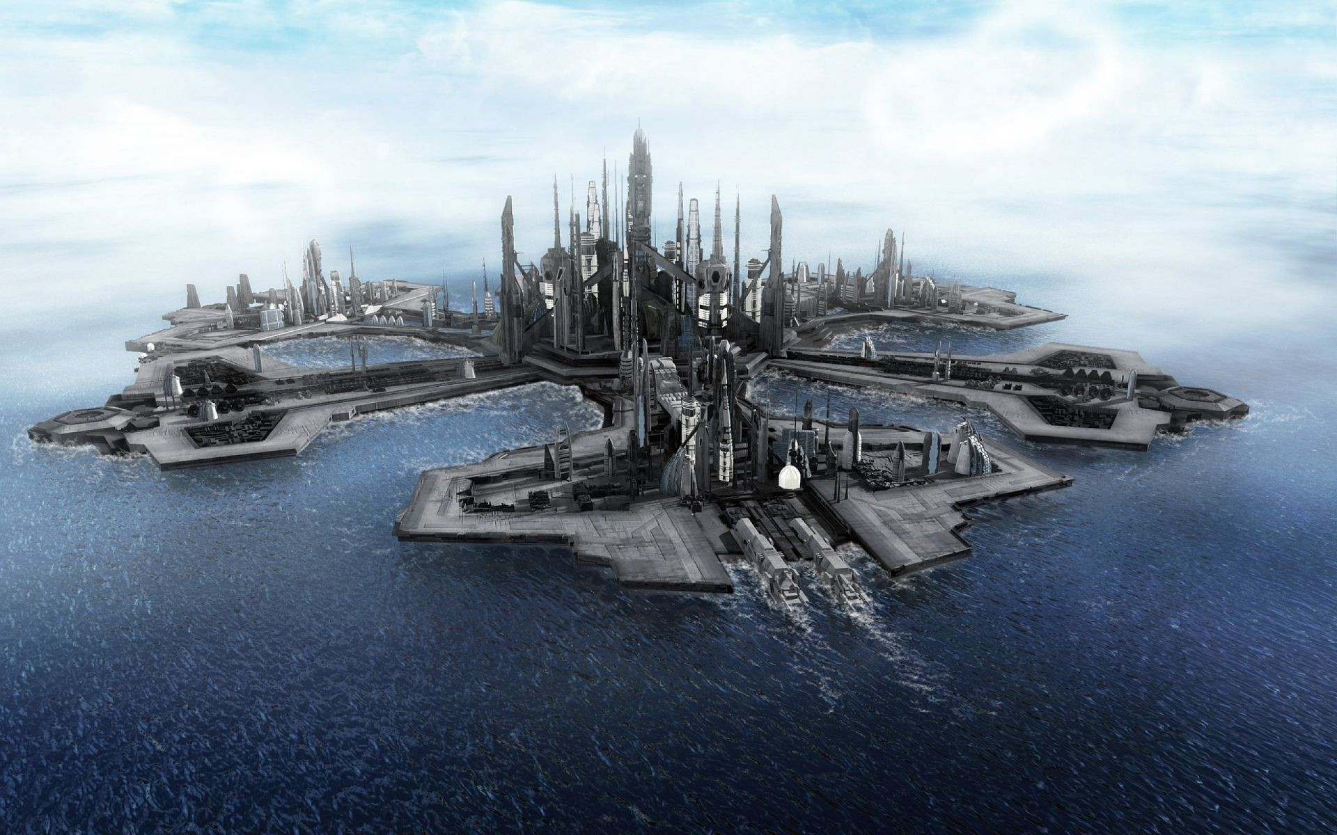 Fantasy water watercraft ship vehicle transportation system sea harbor pier  HD wallpaper. iPhone wallpapers for free.