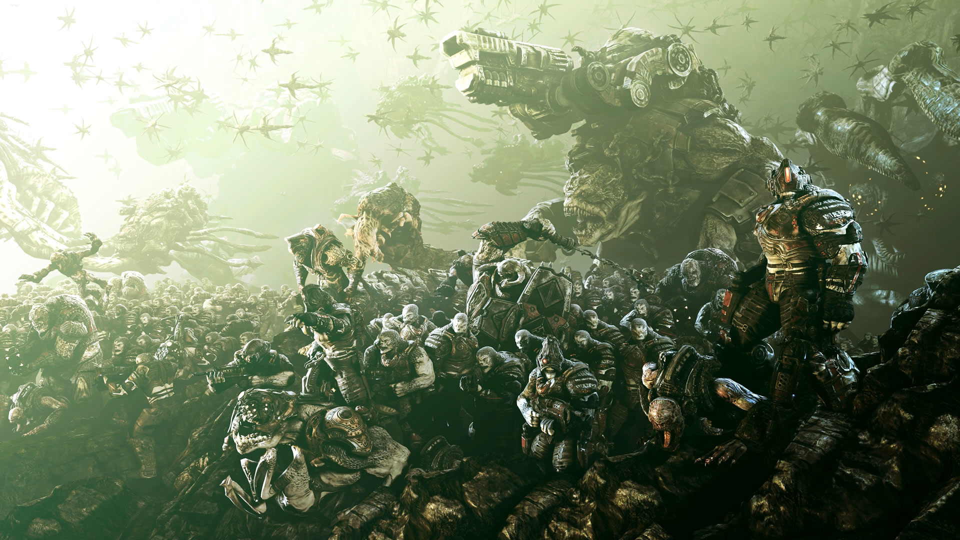 Fabulous Gears Of War Army Soldiers Birds Monsters Wallpaper Â« Kuff Games