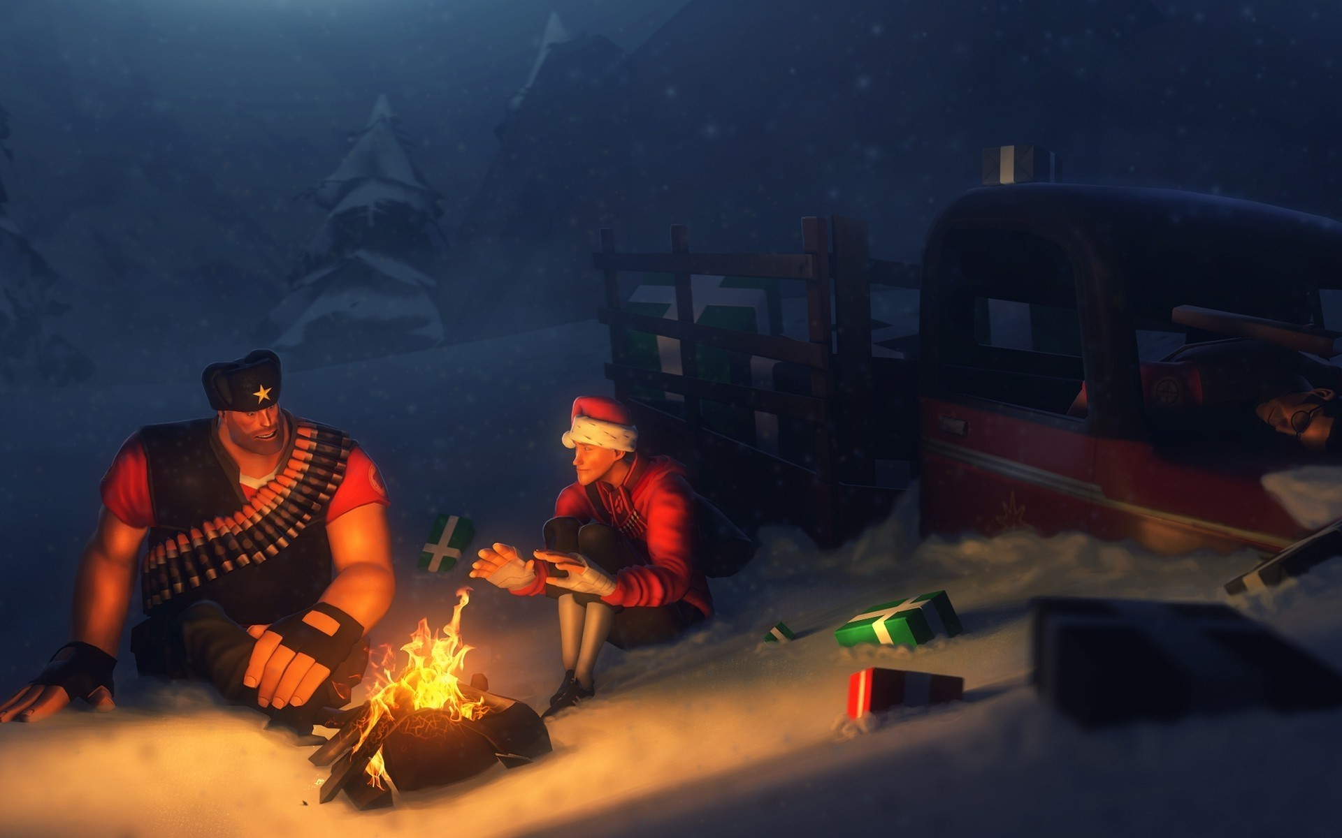 … Digital Art, Team Fortress 2, Fire, Camping, Presents, Happy New Year,  Truck, Heavy, Snow, Campfire Wallpapers HD / Desktop and Mobile Backgrounds