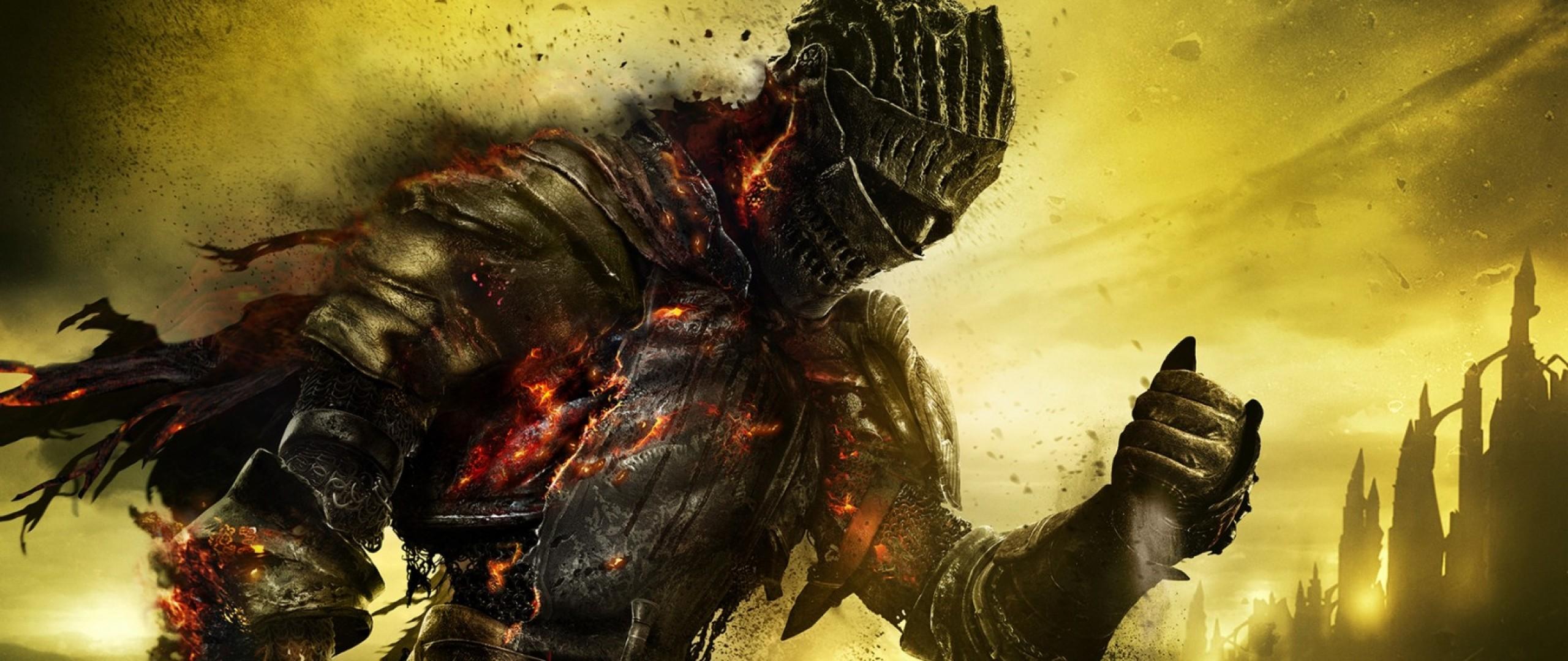 Preview wallpaper dark souls 3, armor, warrior, fire, ash, art 2560×1080