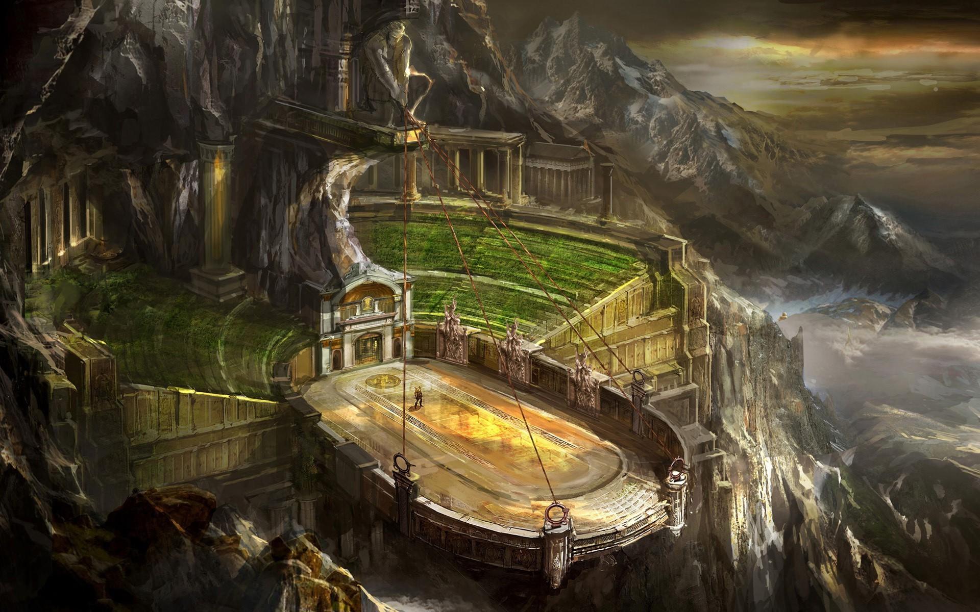 digital Art, Fantasy Art, God Of War, Video Games, Stadium, Mountain.  League Of Legends, Summoners Rift Wallpaper HD