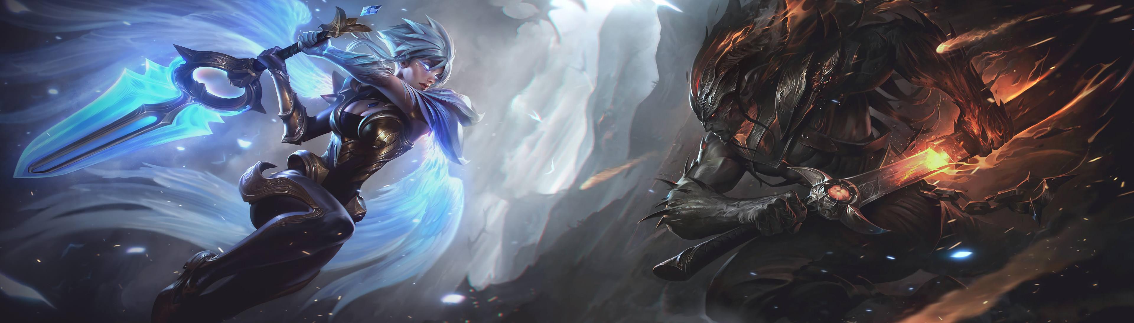Dawnbringer Riven & Nightbringer Yasuo Combined Splash Art HD Wallpaper  Artwork League of Legends (2
