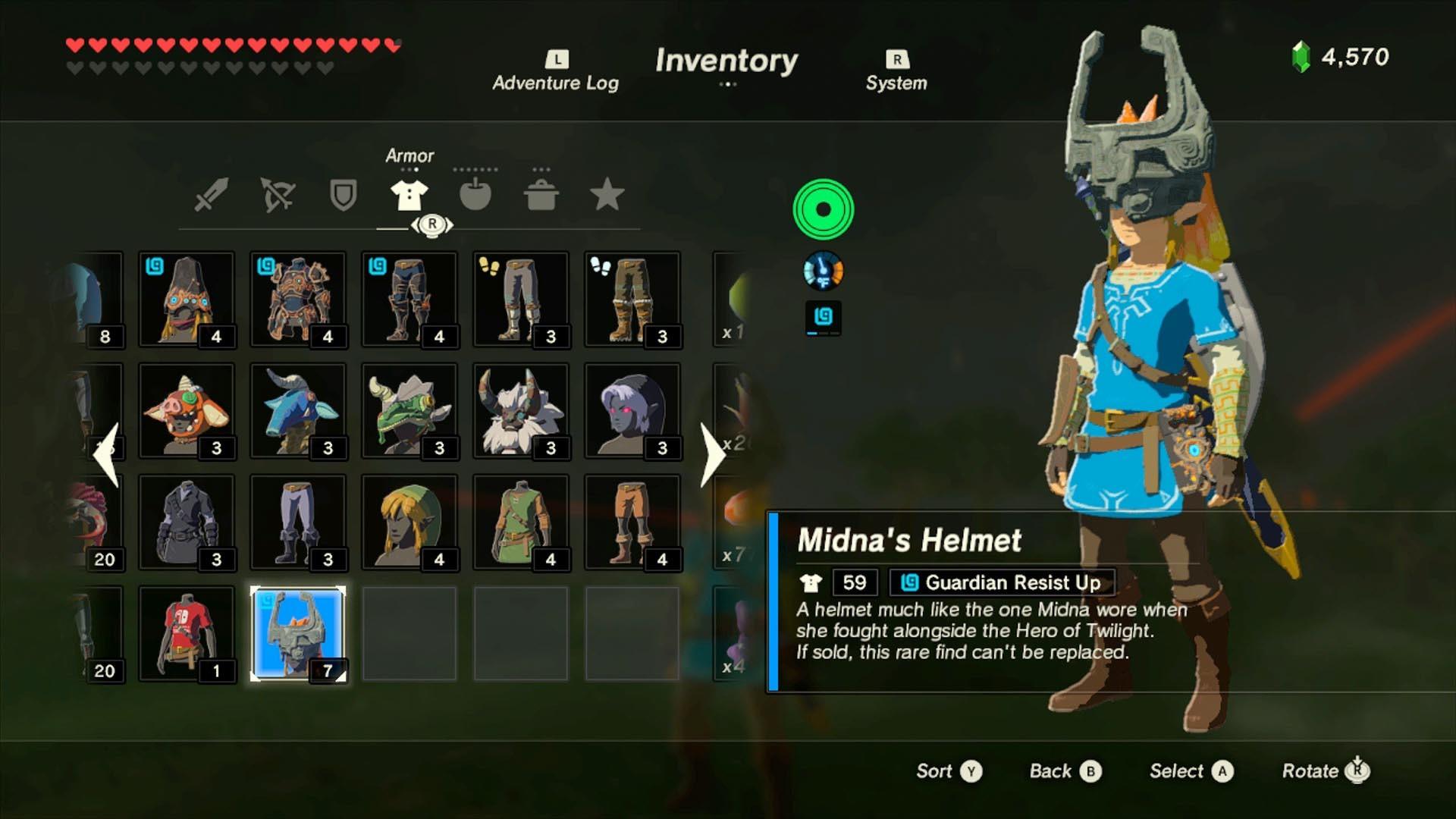 Midna's Helmet stats and description.