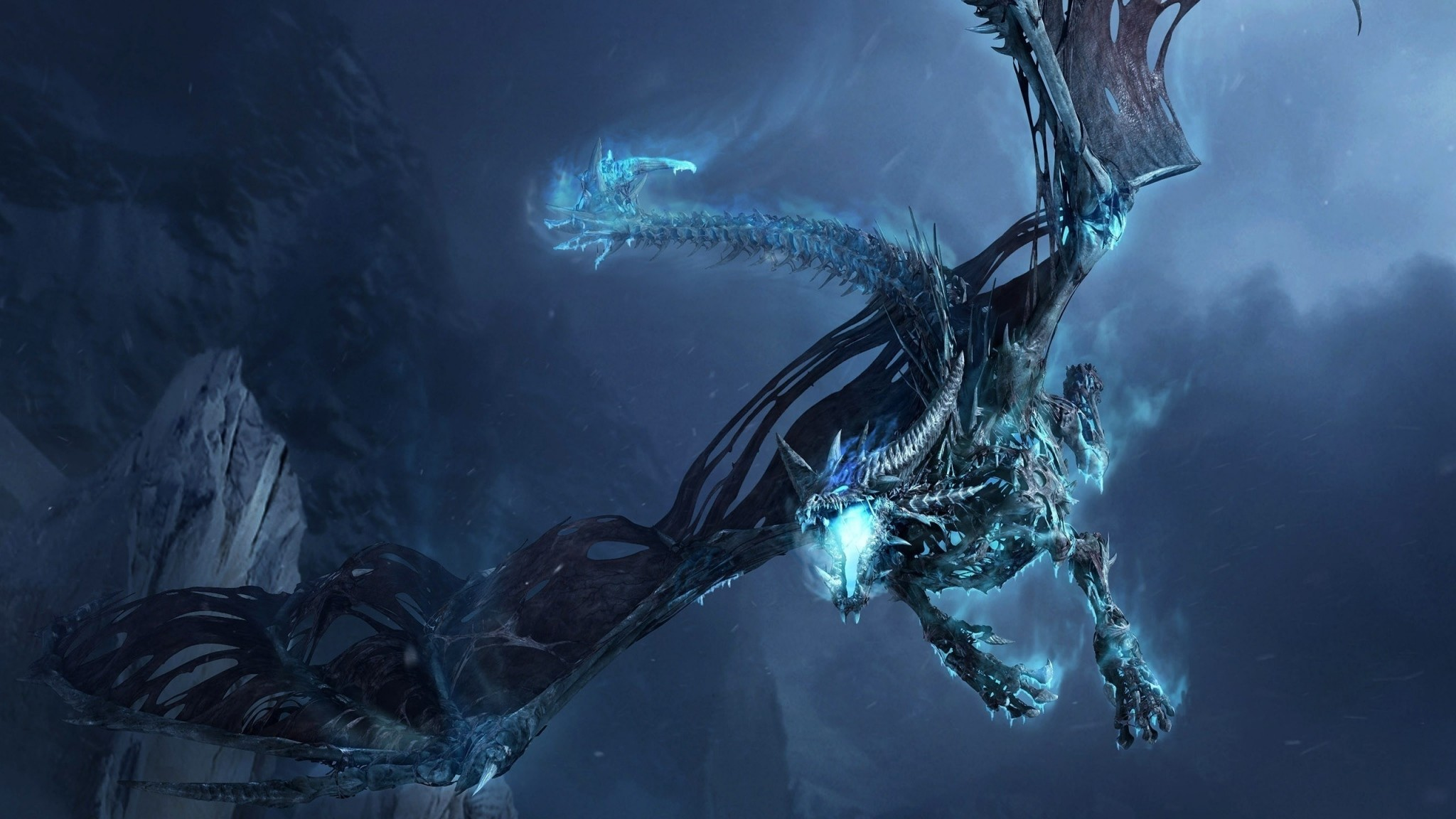 Preview wallpaper dragon, fly, jaws, rocks, night 2048×1152