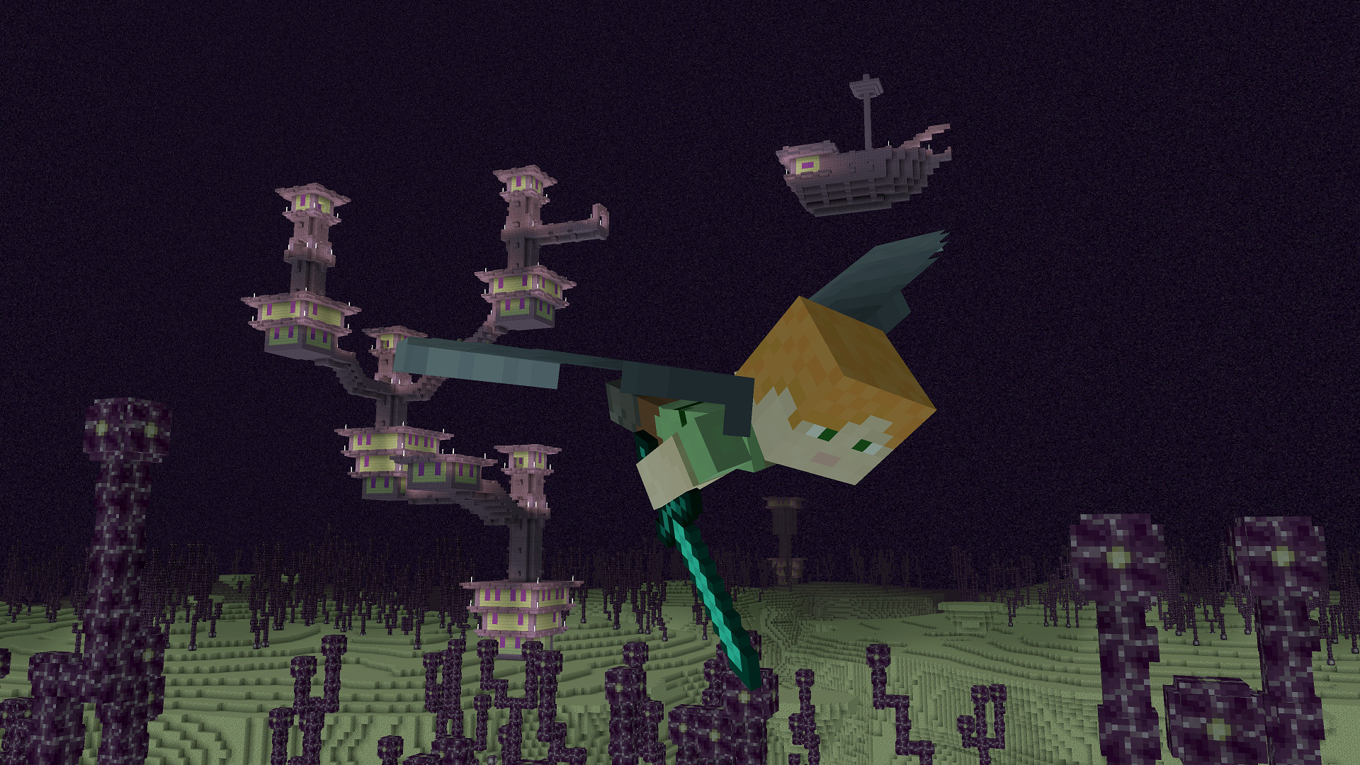 Alex Gliding with Elytra in The End Dimension – Minecraft: Windows 10  Edition
