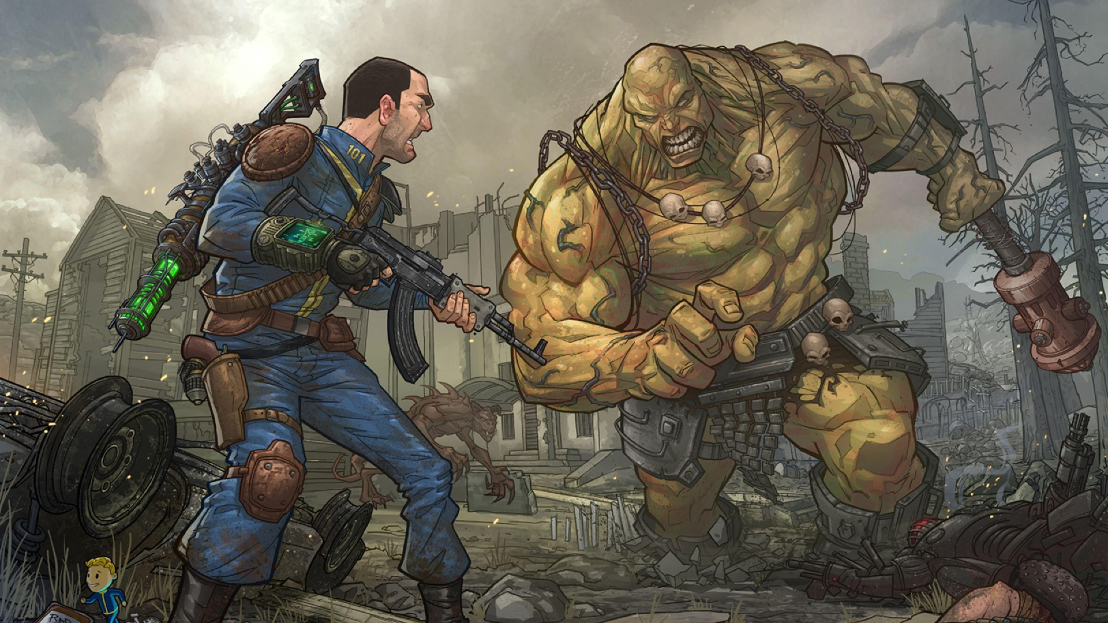Download Wallpaper Fallout 3, Super mutant, Behemoth 4K .
