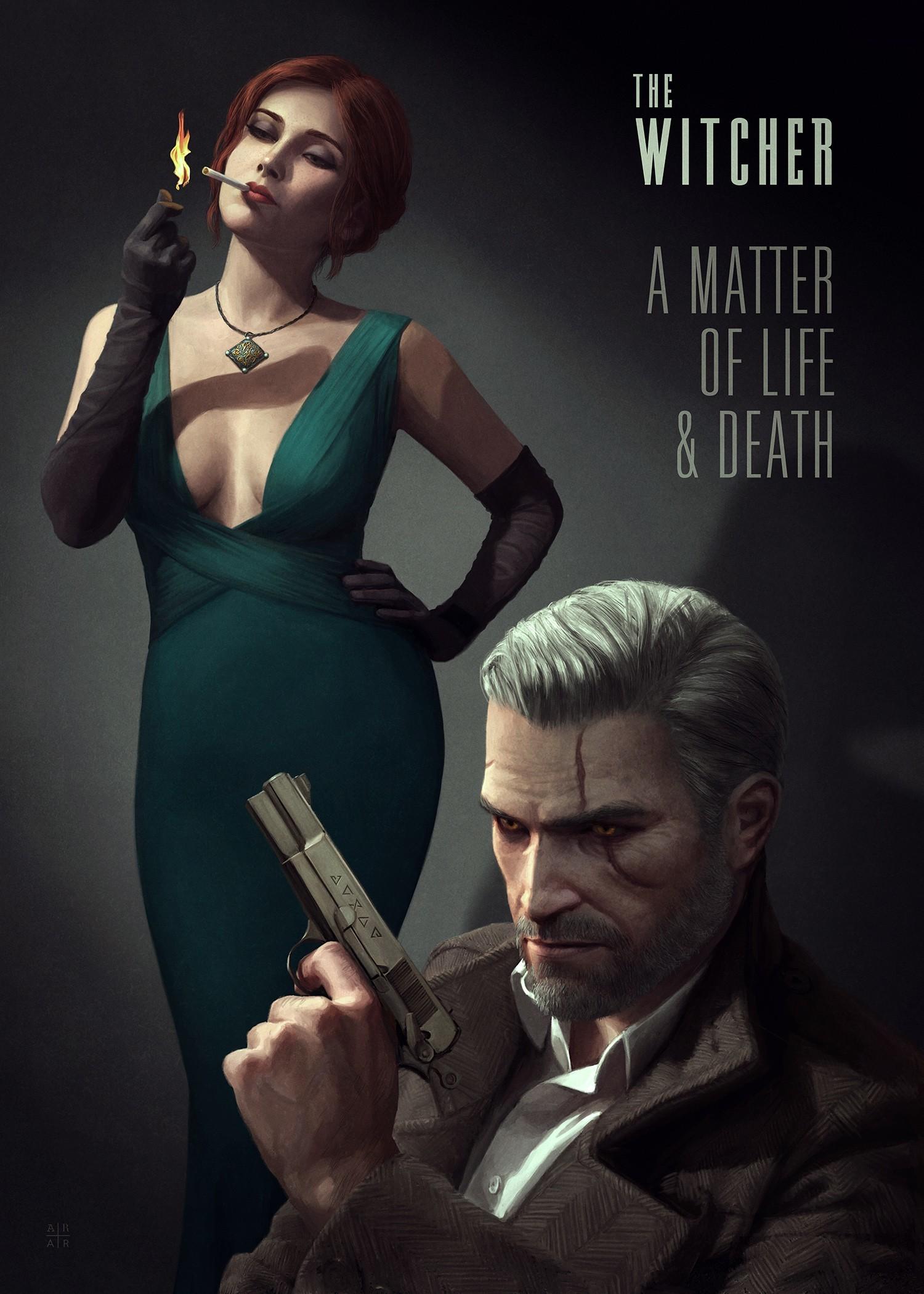 Geralt of Rivia, Triss Merigold, The Witcher, The Witcher 3: Wild Hunt,  Artwork, Digital art, Poster, Noir Wallpapers HD / Desktop and Mobile  Backgrounds