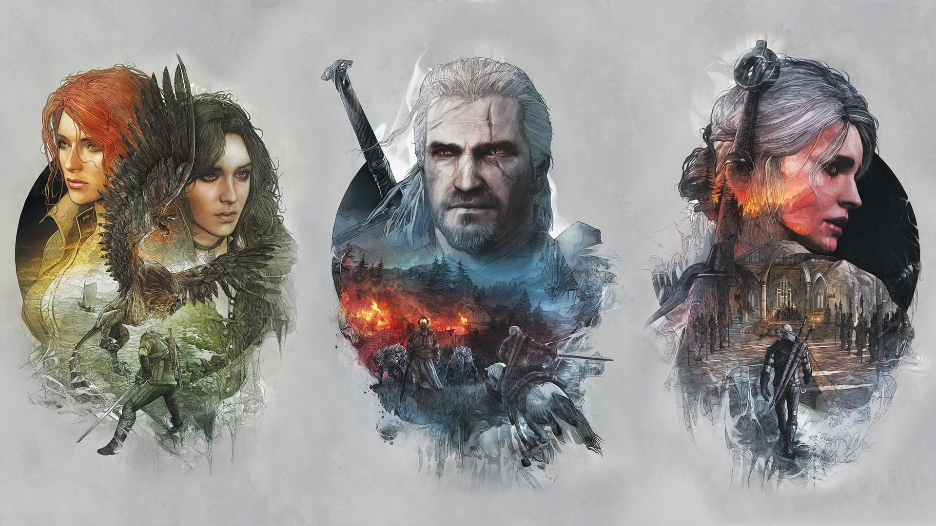 A Witcher 3 Wallpaper I Made By Combining 3 Of The Steelbook .