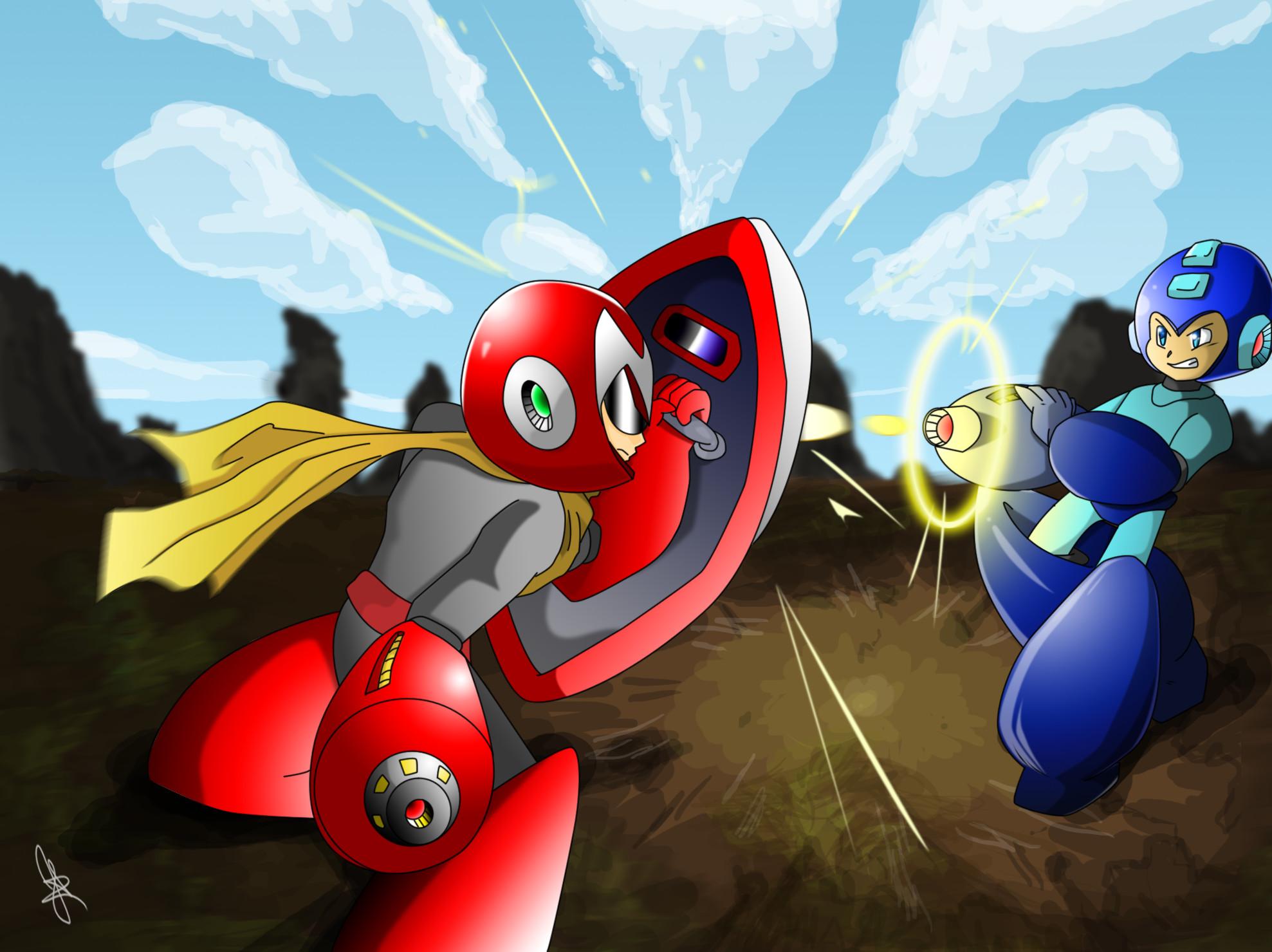 Protoman vs Megaman! by exleydragon Protoman vs Megaman! by exleydragon