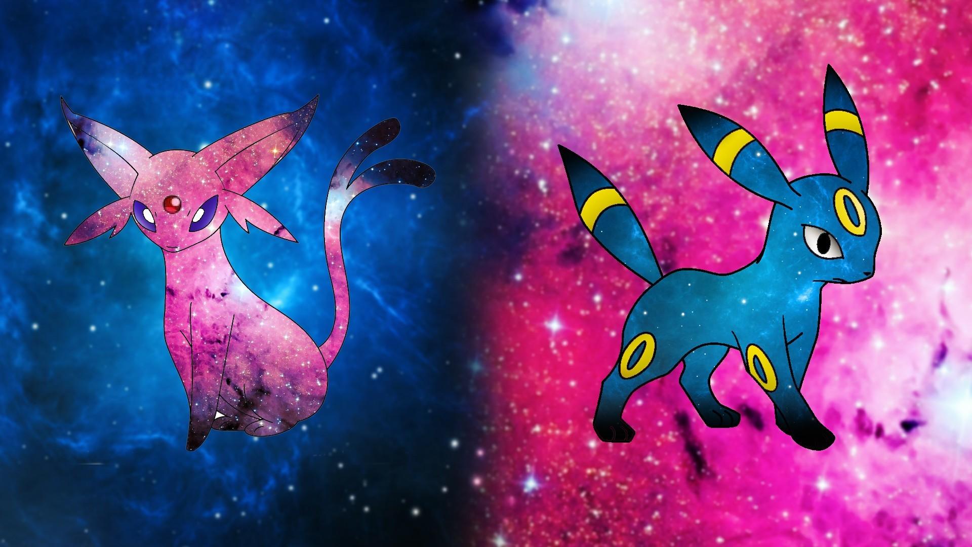 Anime Pokémon space Espeon Umbreon Pikachu blue pink dog