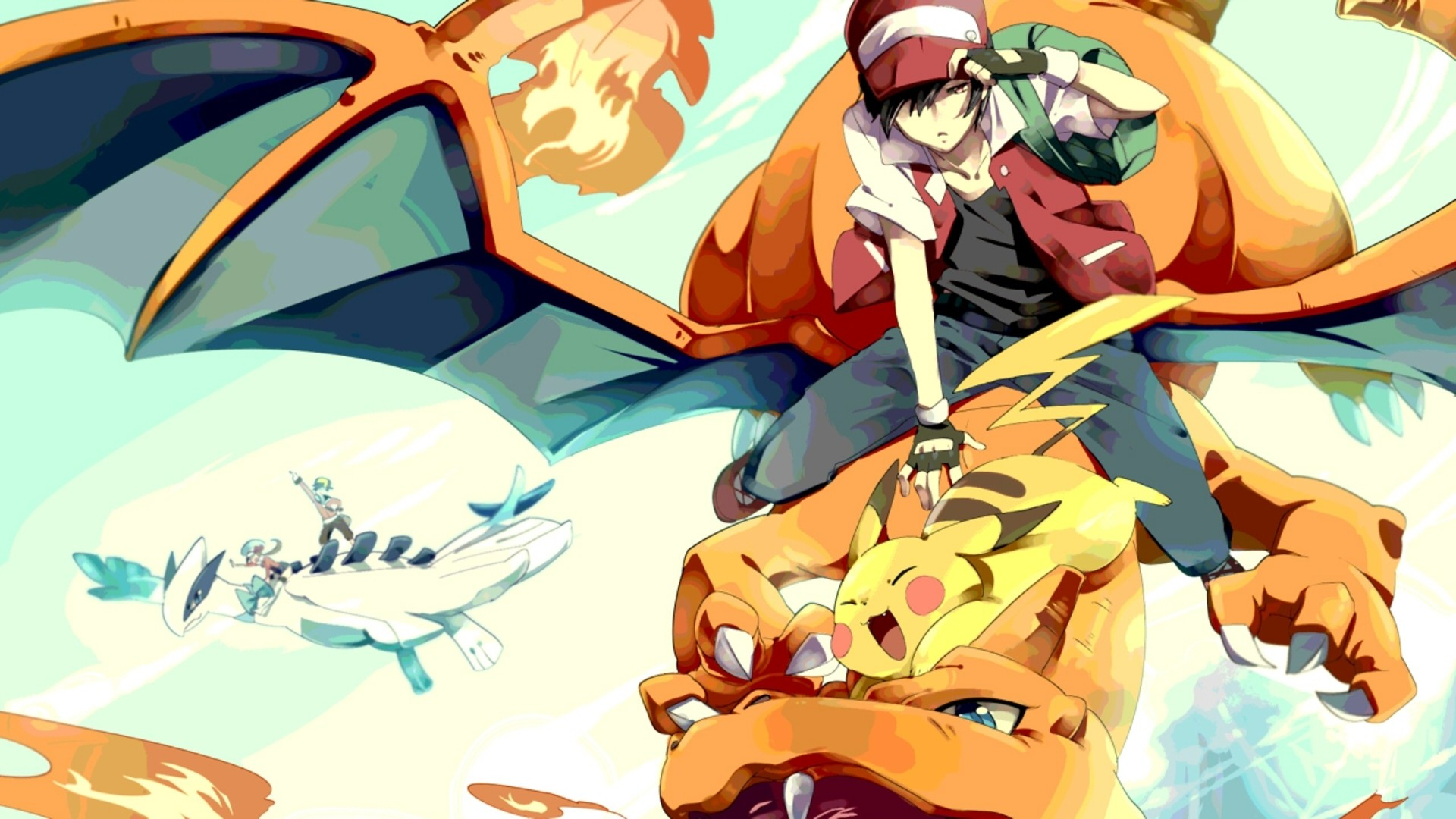 Red, the Pokemon Champion of the Kanto region. Oh, look there's gold in the  back!
