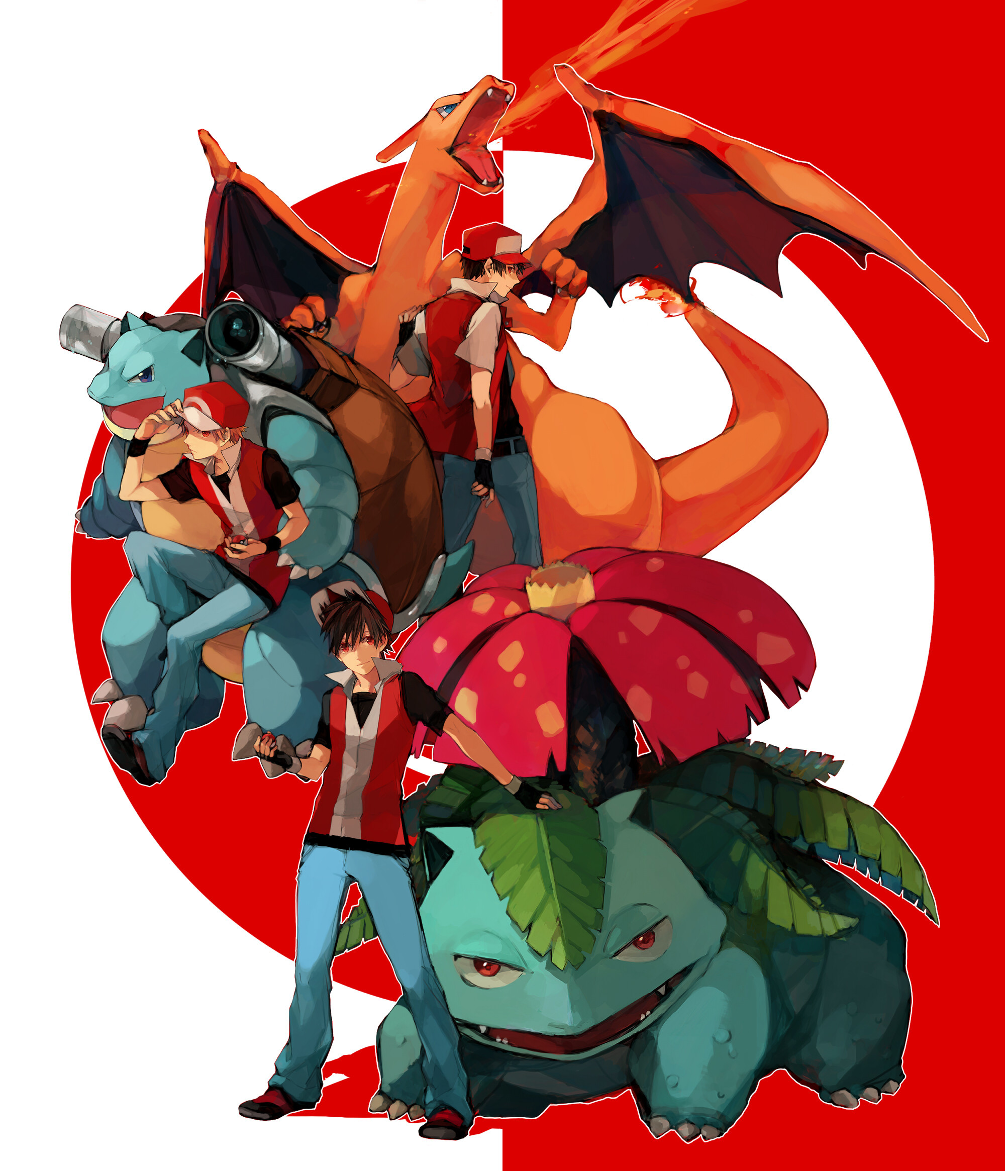 Trainer Red with the Starters