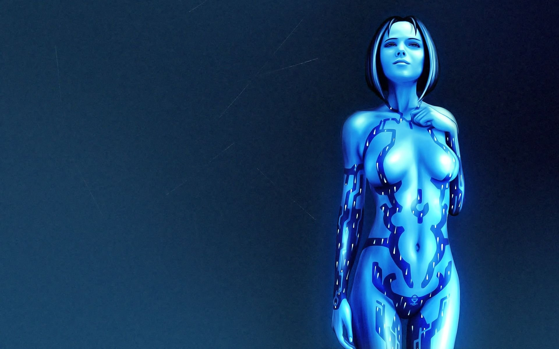Halo Game Girl Blue Art At 3d Wallpapers