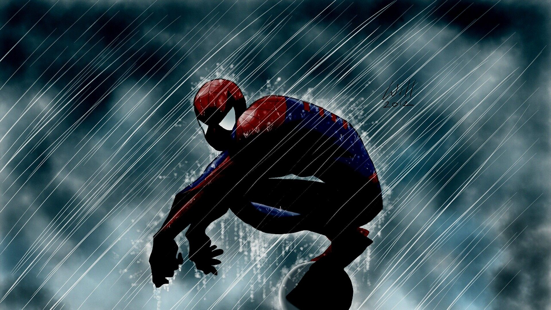 Awesome dramatic Spiderman in the rain wallpaper [1920×1080]
