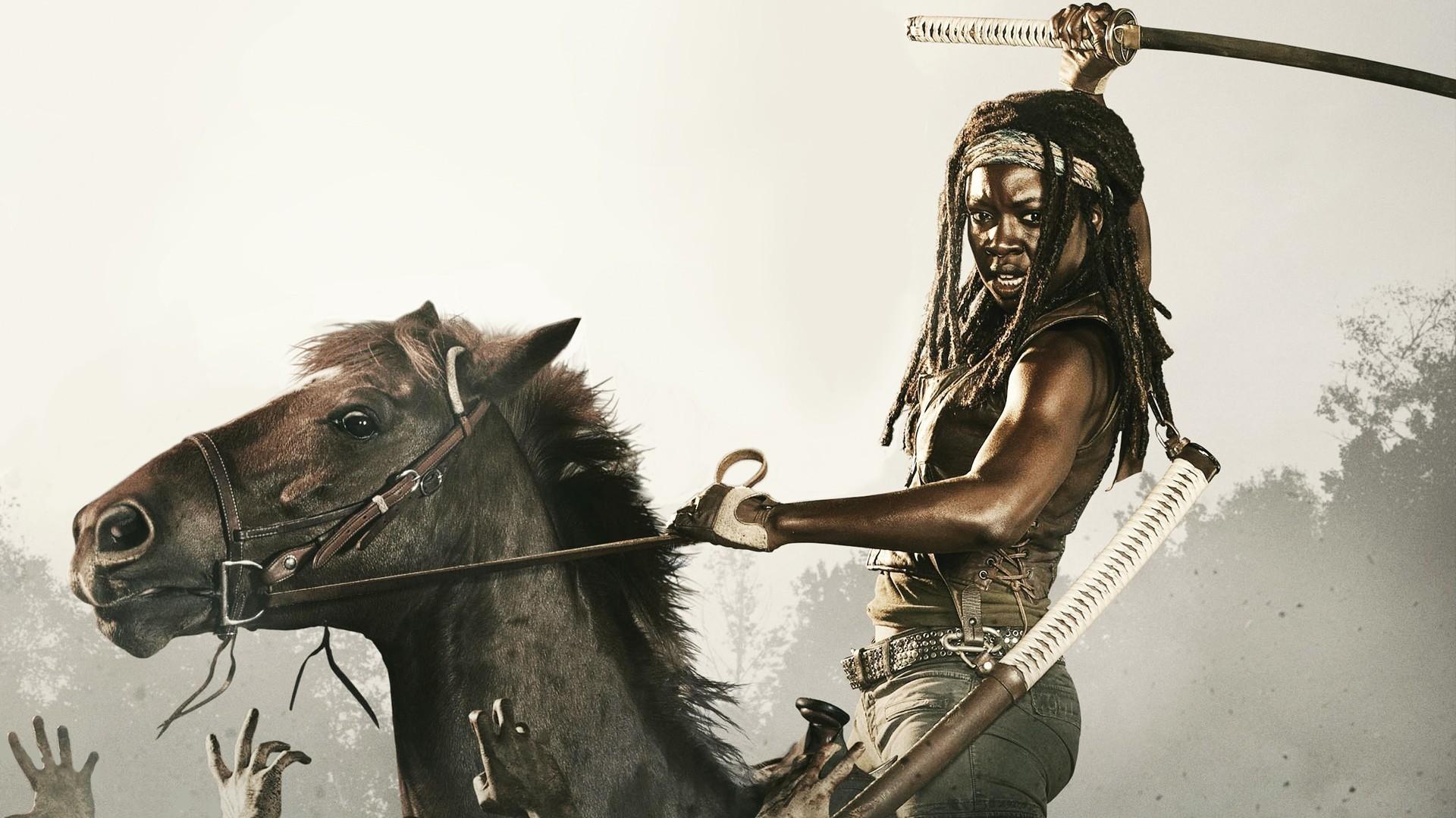 The Walking Dead Michonne Sword Katana Horse Zombies Danai Gurira fantasy
