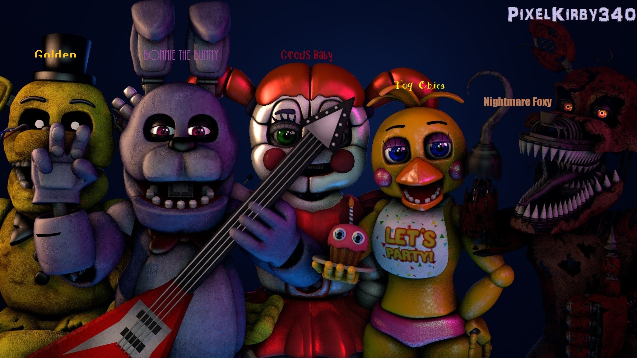 My Favourite FNAF Characters by PixelKirby340 on DeviantArt · f naf all  characters wallpaper …