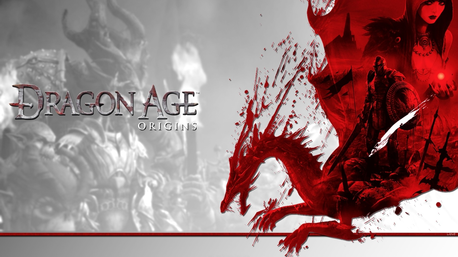 Wallpaper dragon age origins, dragon, characters, magic, red