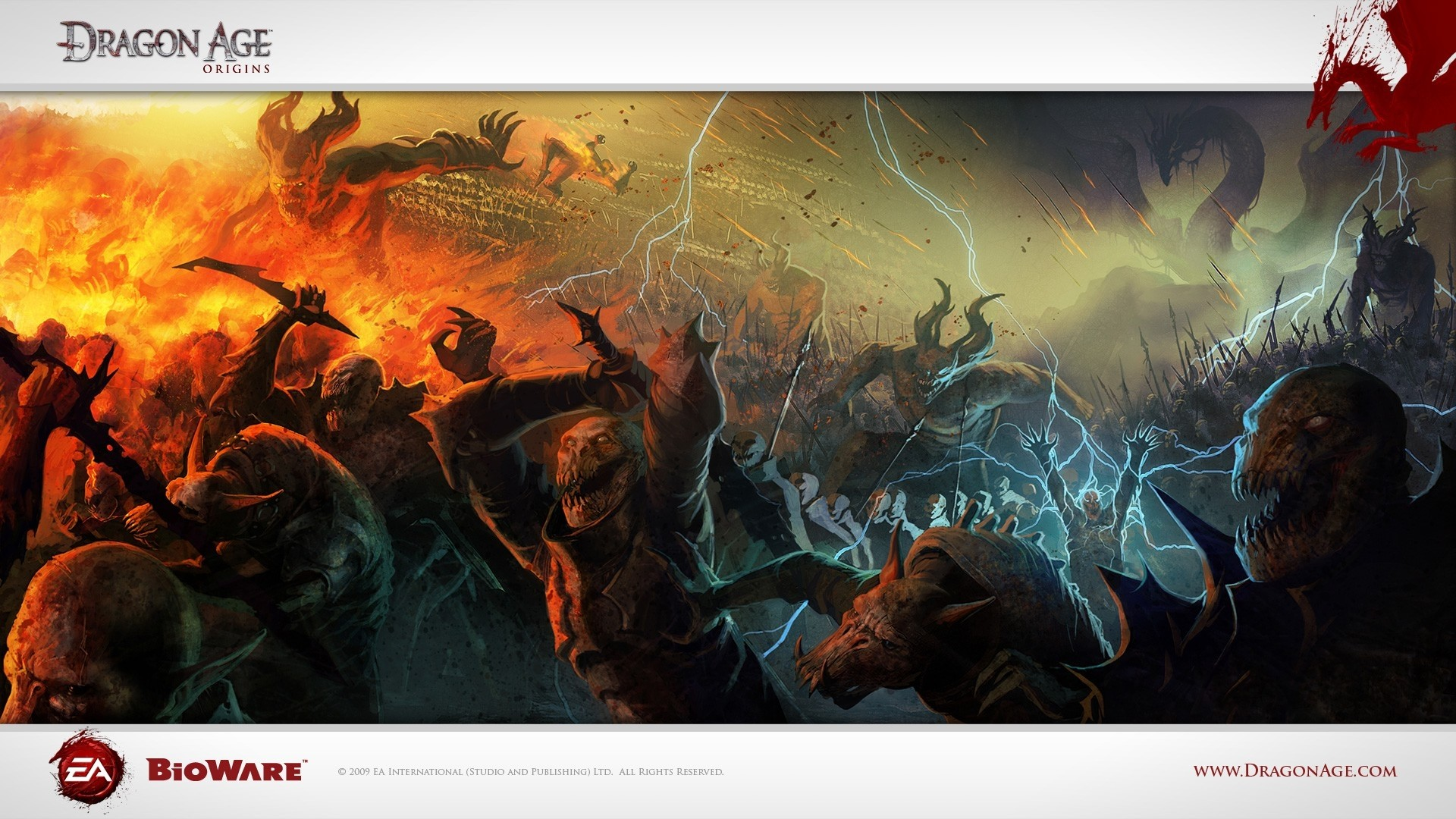 Wallpaper dragon age origins, monsters, zip, magic, fire