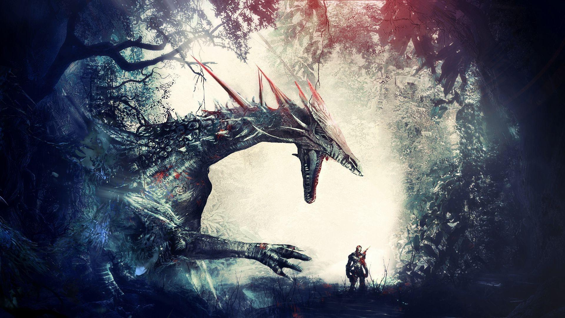 artwork, Fantasy Art, Warrior, Dragon, Forest, Knights, Dragon Age: Origins  Wallpapers HD / Desktop and Mobile Backgrounds