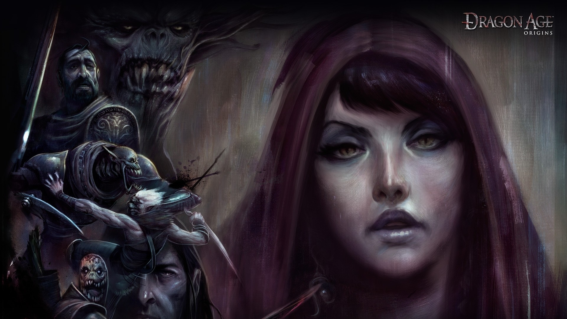 Wallpaper dragon age origins, girl, face, look, monsters