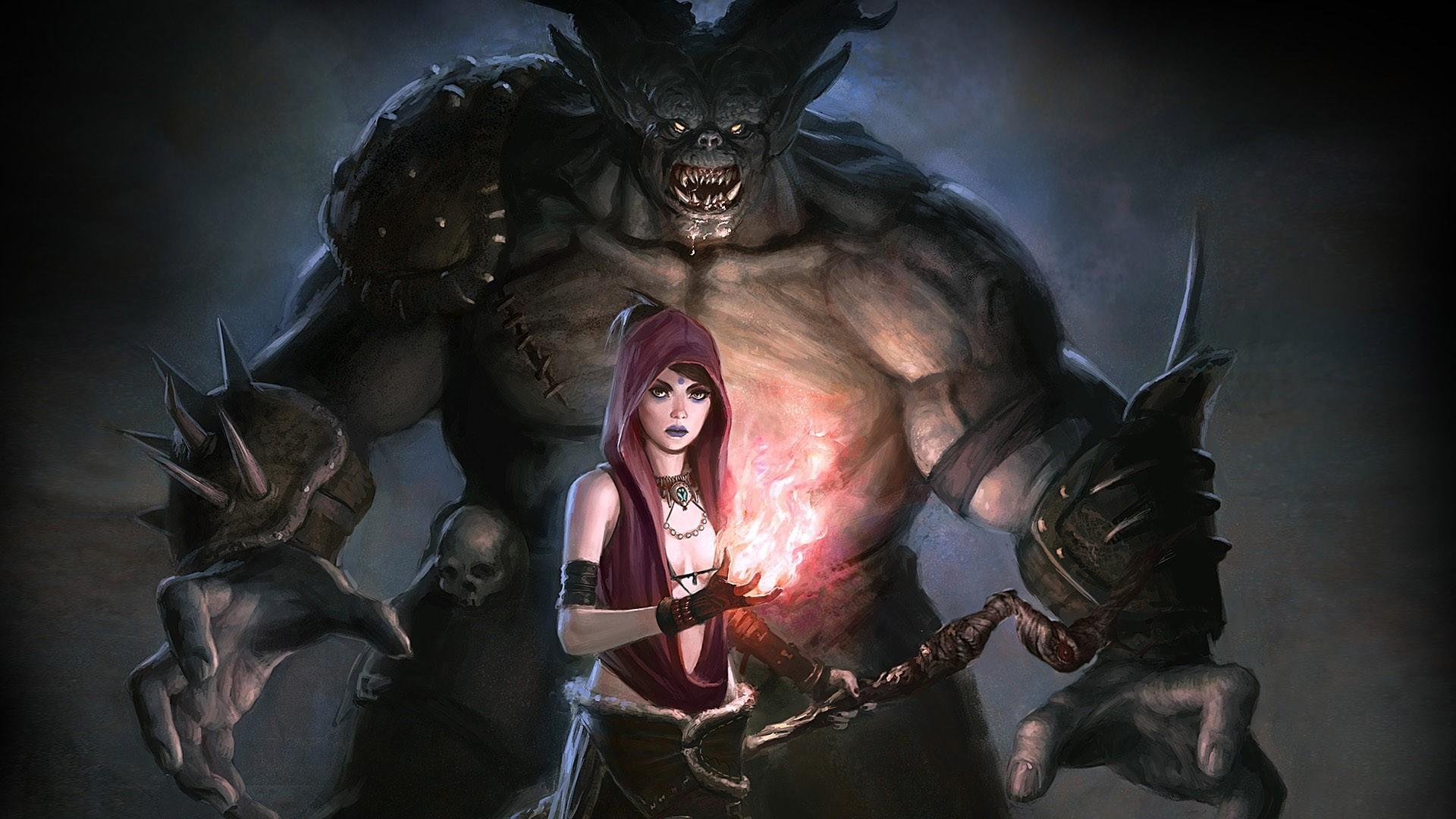 Wallpaper dragon age, girl, monster, magic, look, morrigan