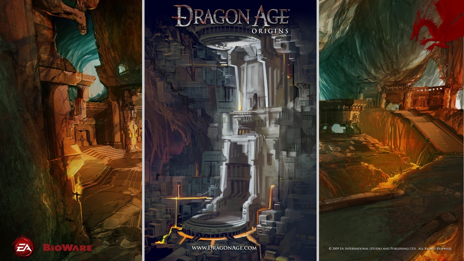 Wallpaper dragon age origins, castle, cave, dragon, light