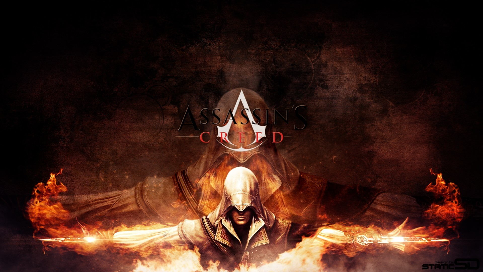 Wallpaper assassins creed, desmond miles, fire, assassins symbol,  game, name