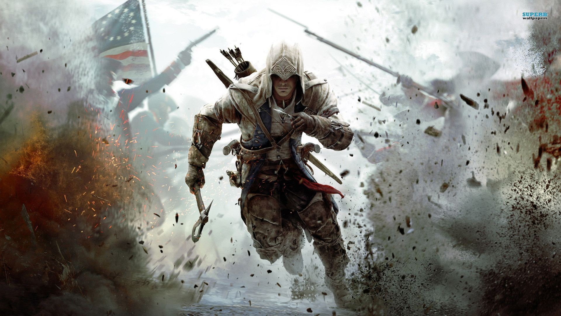 Running Assassin's Creed Wallpaper Simple White Classic Black Dust Game  Collection Themes