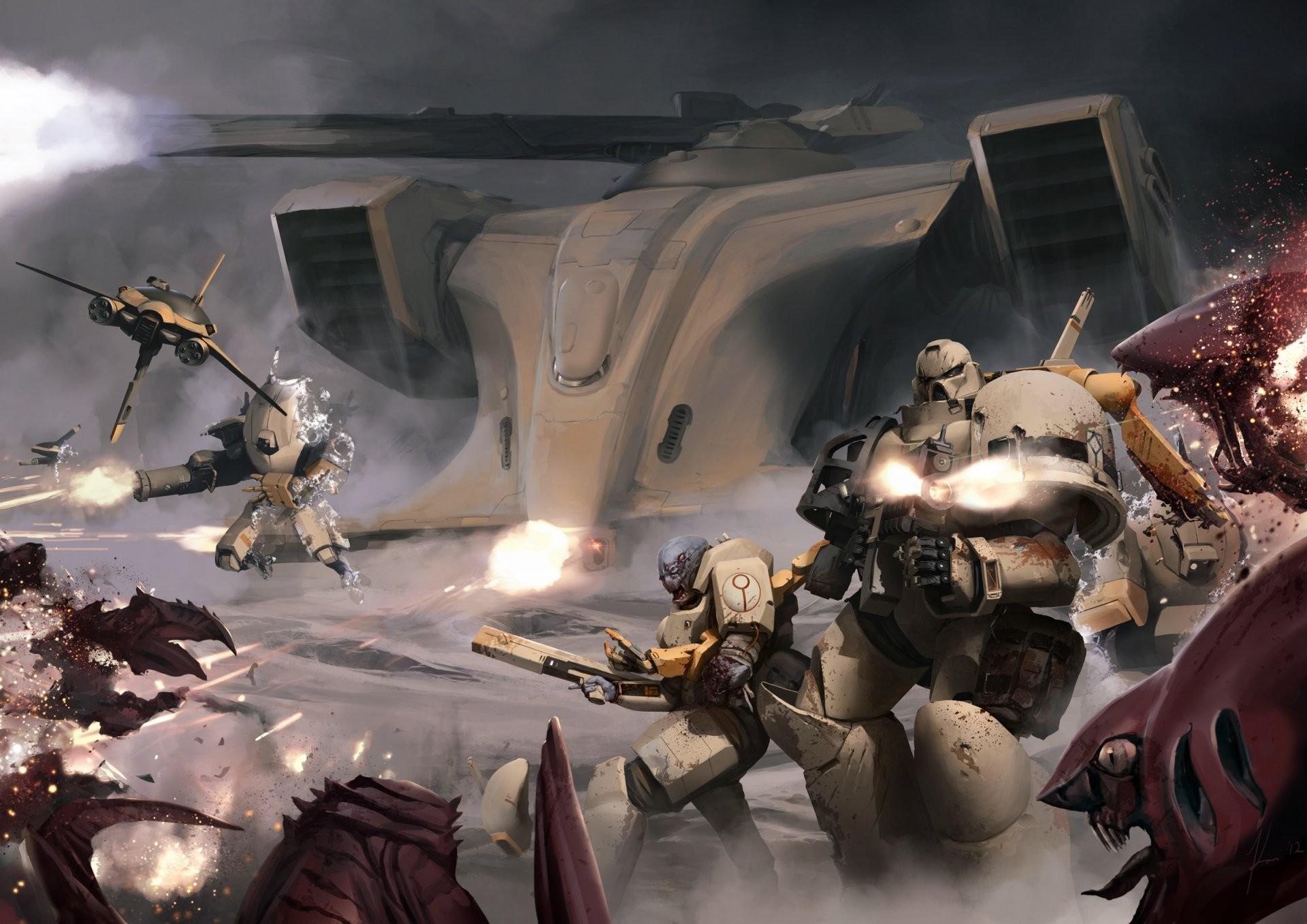 warhammer 40k space marines tau xv25 tyranid space marines tau tyranids  fight