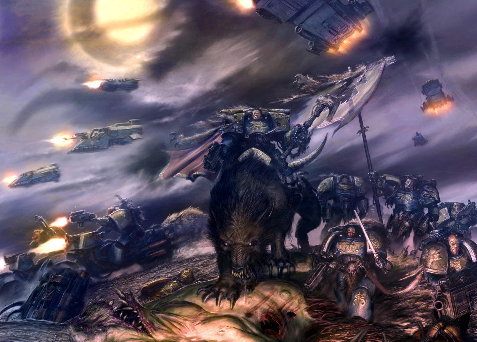 Wallpaper Warhammer 40k, space wolves, spaceship, battle desktop .