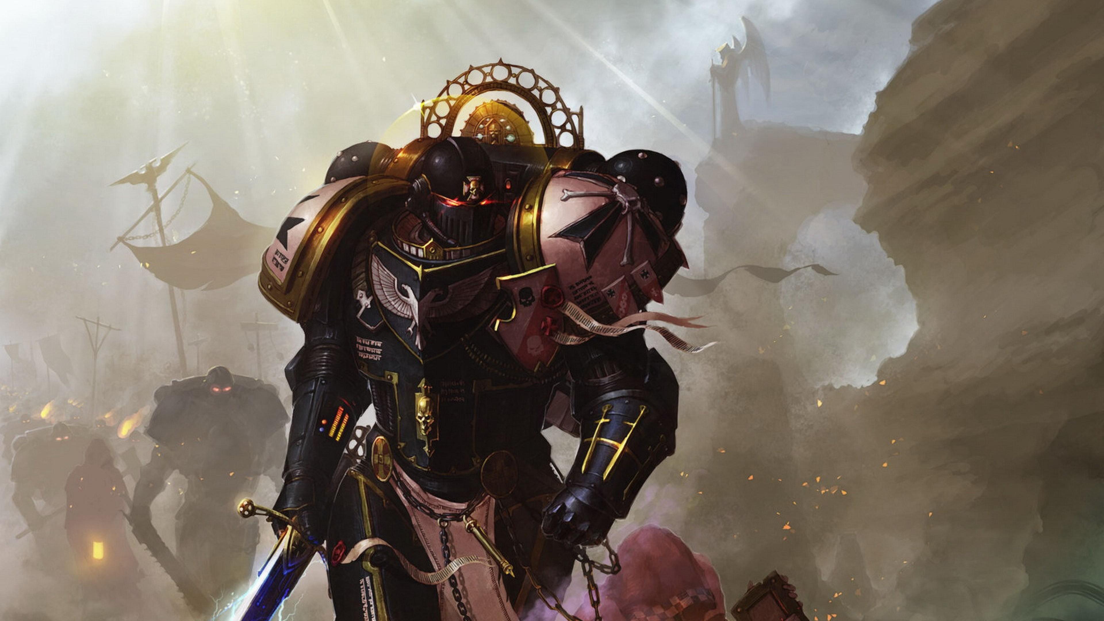 Preview wallpaper warhammer, warhammer 40k, space marines, black templars,  imperors champion 3840×2160