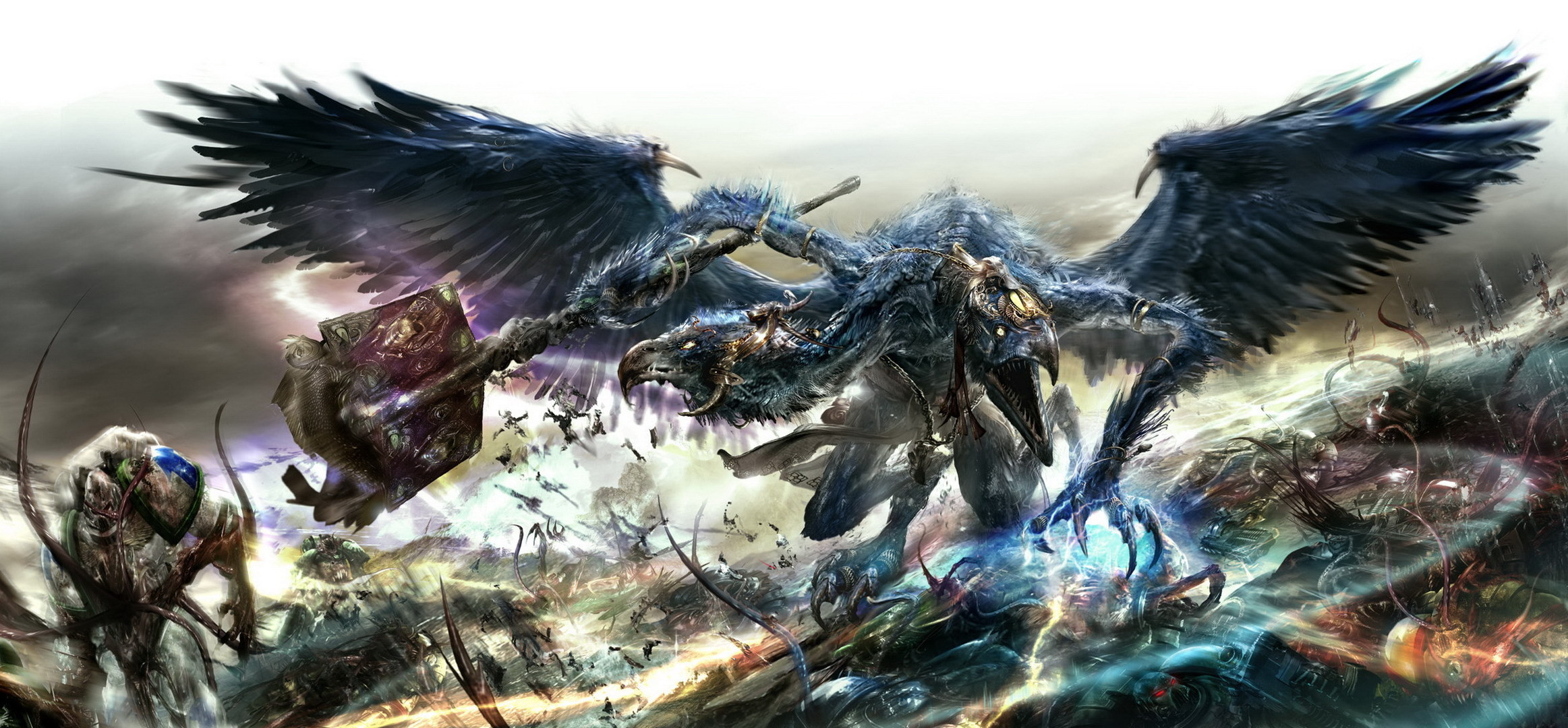 Warhammer 40k, battle, space marines, chaos, demon, tzeentch, tzeentch .