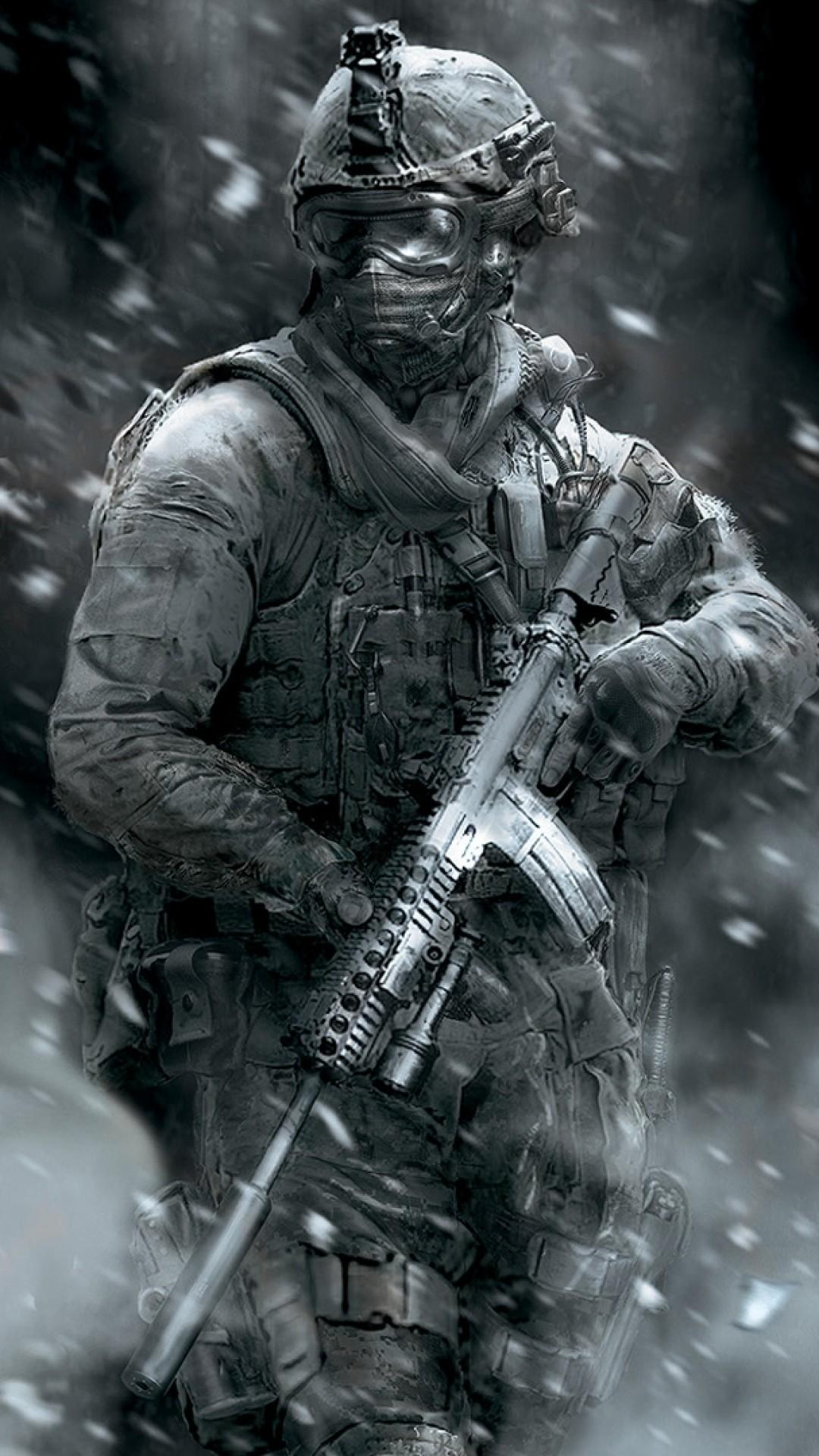 Preview wallpaper call of duty, soldier, gun, smoke, glasses 1080×1920