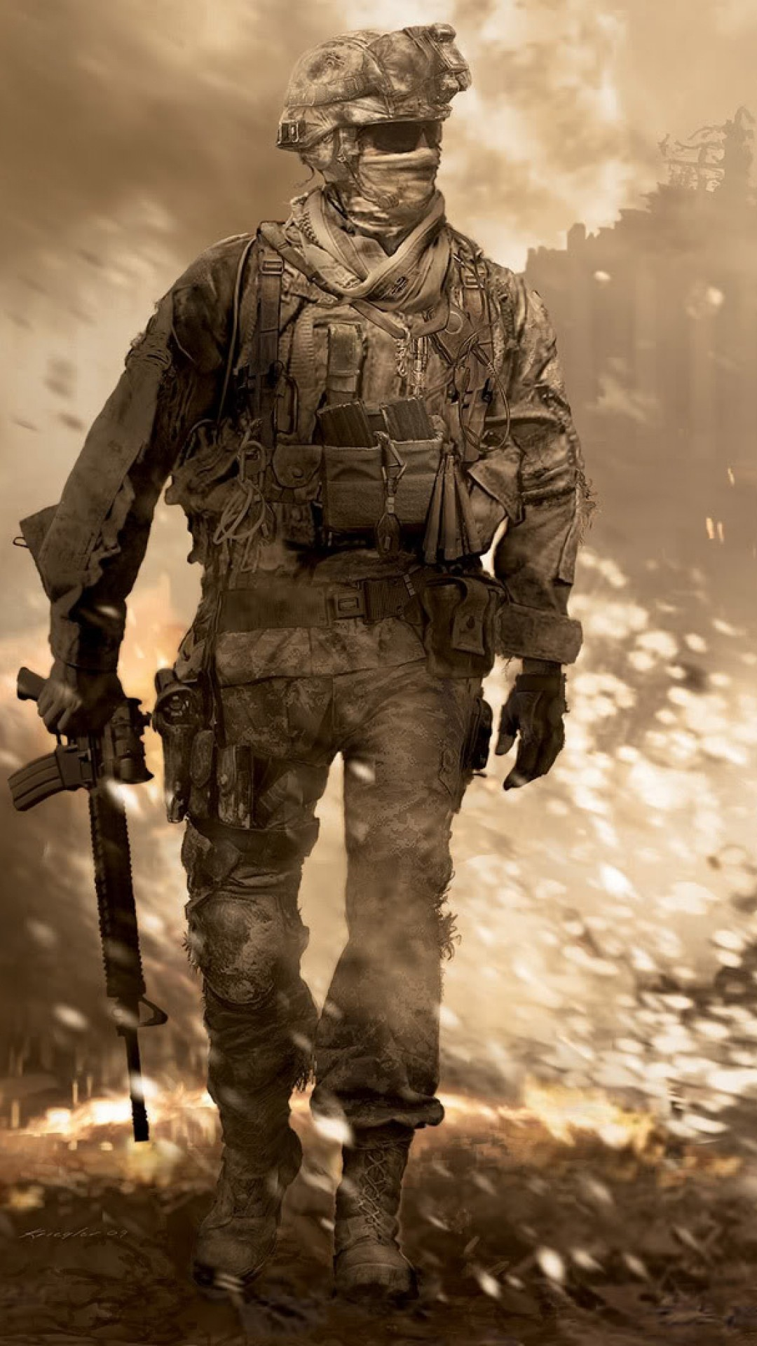 Preview wallpaper call of duty, soldier, gun, glasses, explosion 1080×1920