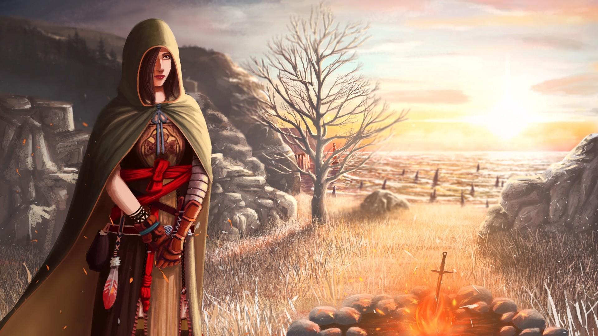 Wallpaper dark souls 2, shanalotte, girl, cape, field