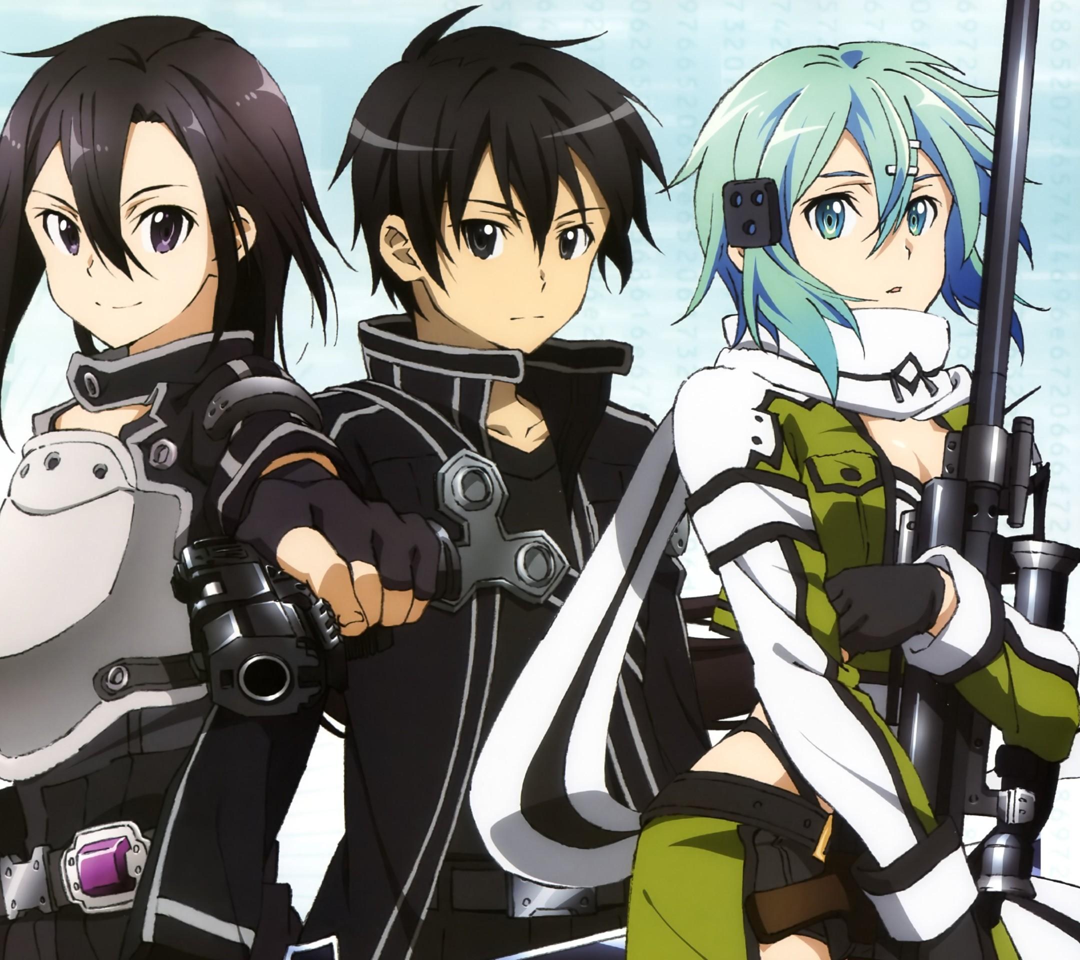 Sword Art Online 2 Kirito Sinon.Android wallpaper 2160×1920