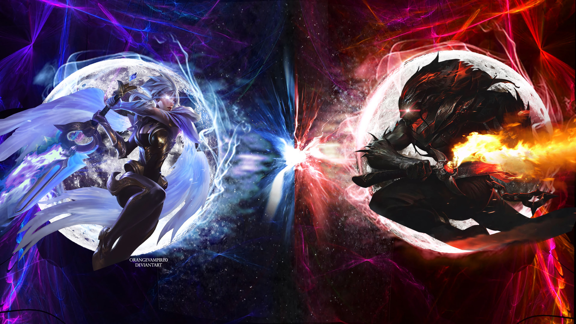 Dawnbringer Riven & Nightbringer Yasuo by orangevampire0 HD Wallpaper  Background Fan Artwork League of Legends lol
