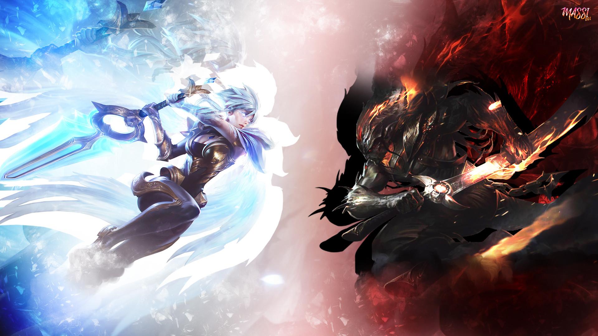 Dawnbringer Riven & Nightbringer Yasuo by Massi001 HD Wallpaper Background  Official Artwork League of Legends lol