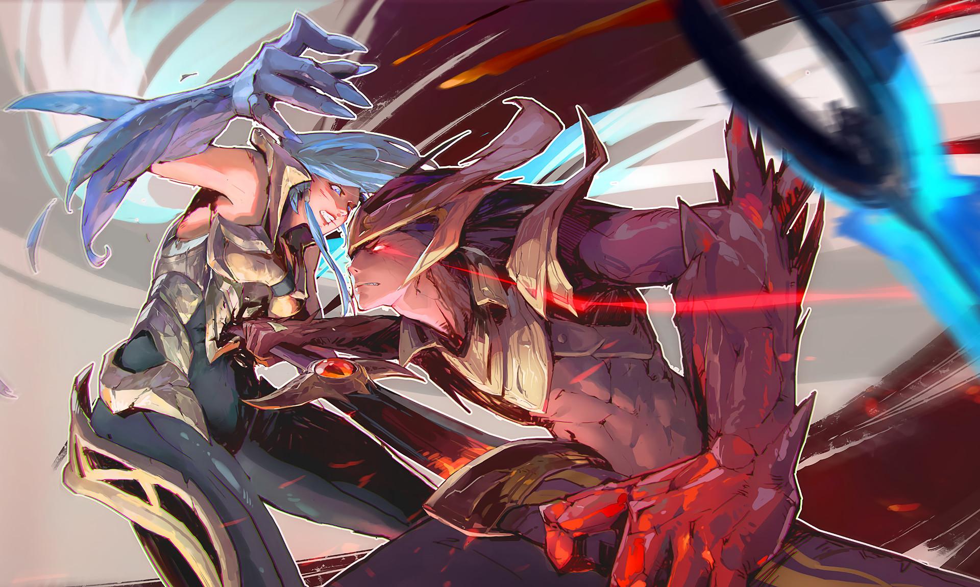 Dawnbringer Riven Vs Nightbringer Yasuo by 穆也菌 HD Wallpaper Background Fan  Art Artwork League