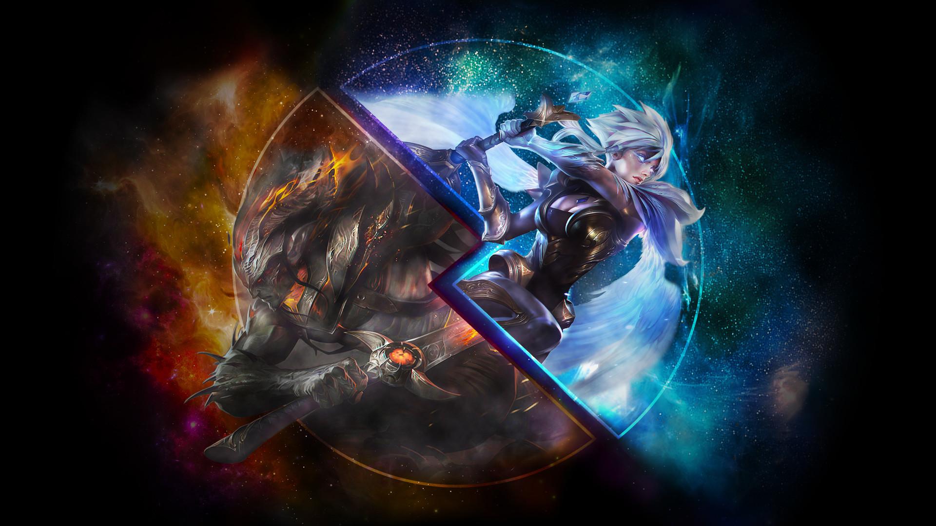 Dawnbringer Riven & Nightbringer Yasuo by syraelx HD Wallpaper Background  Fan Art Artwork League of Legends