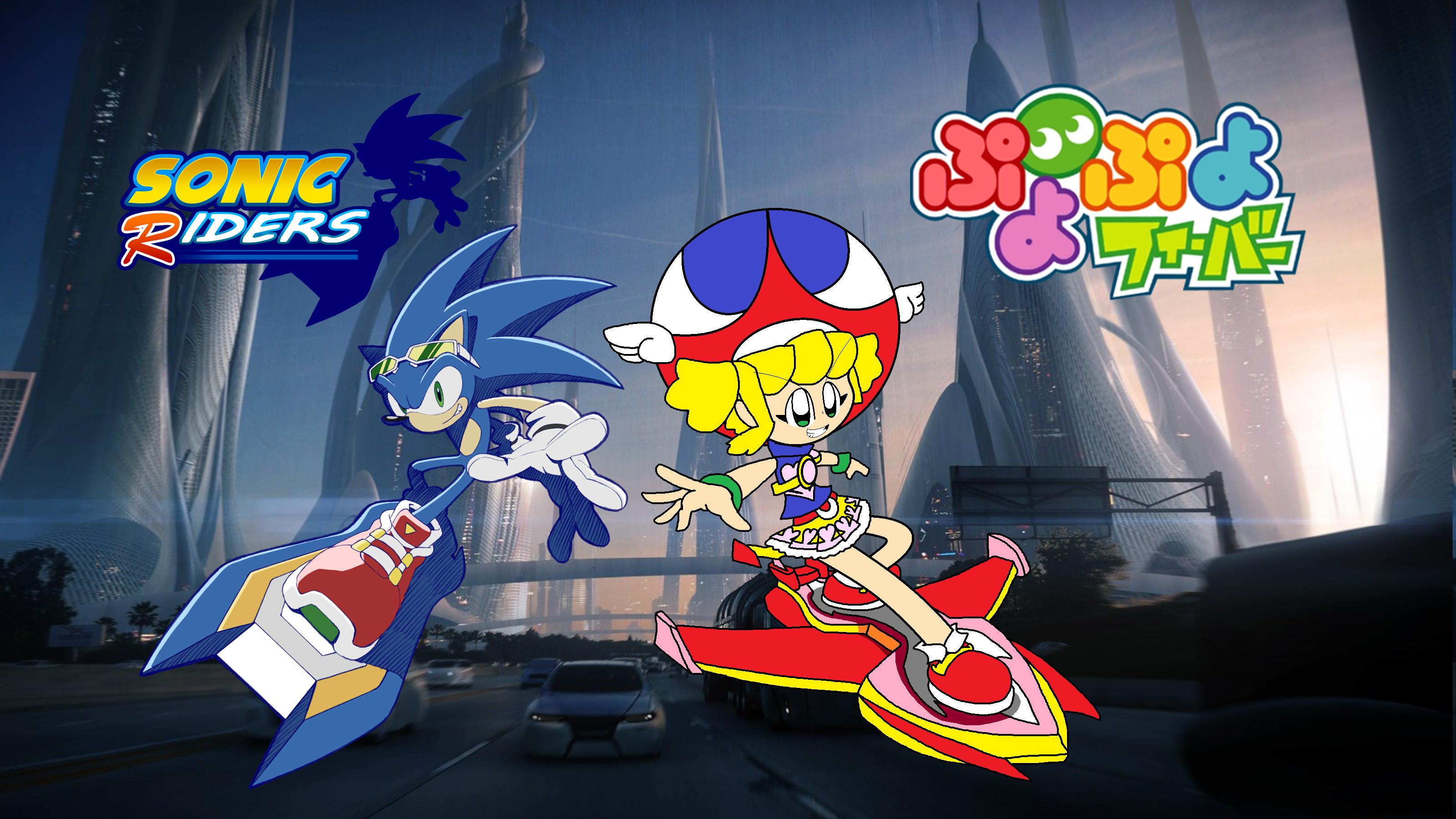 … Sonic Riders and Puyo Puyo Fever: Sonic and Amitie by wilsonasmara