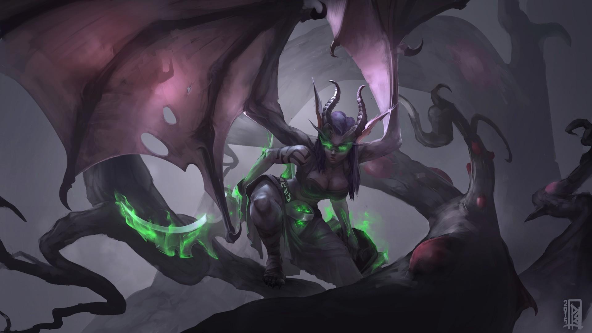 General fantasy art demoness Demon Hunter World of Warcraft video  games